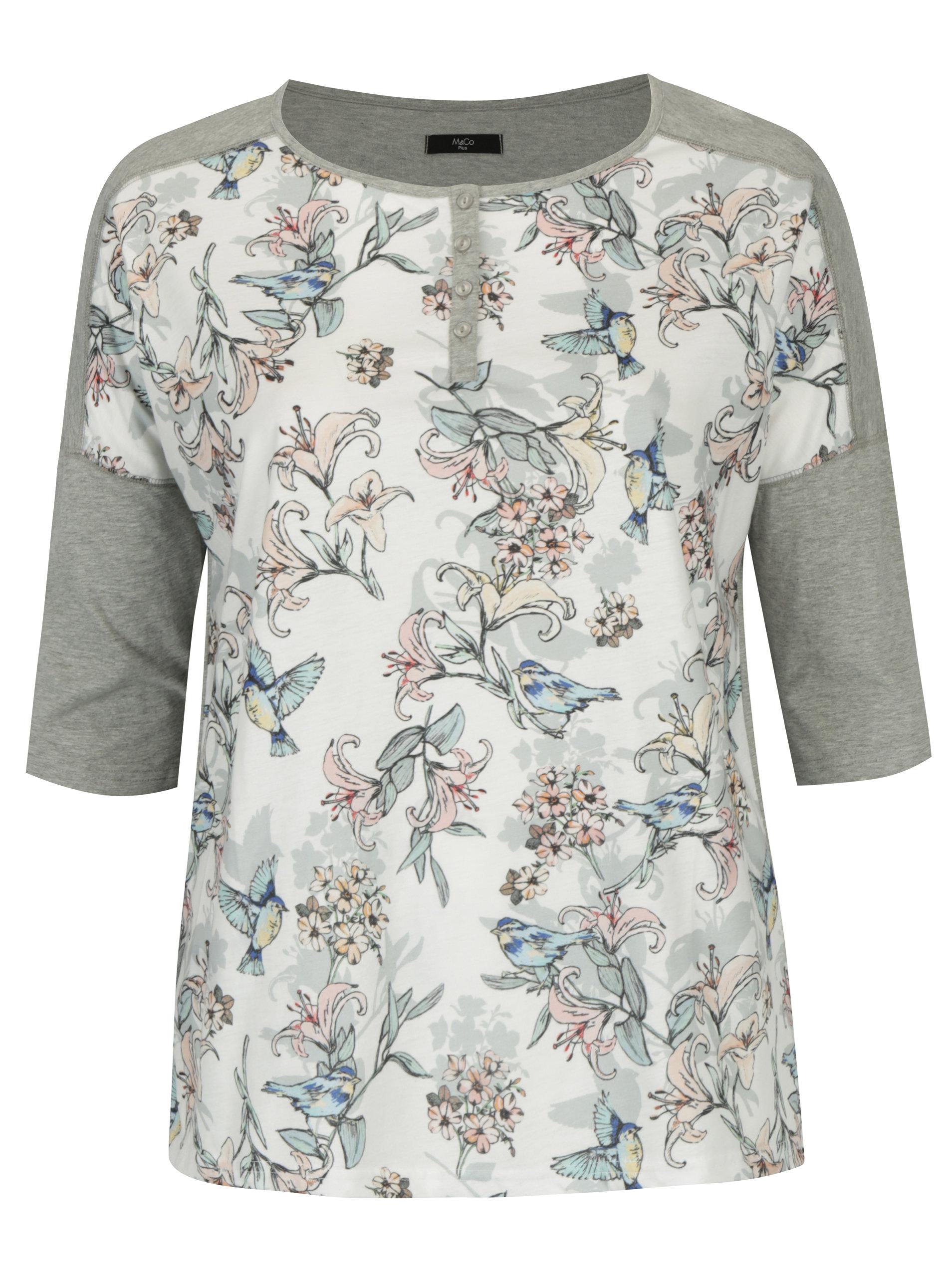 6b0ce468b5664 Krémovo-sivé dámske tričko s motívom kvetín a vtákov M&Co Plus   ZOOT.sk