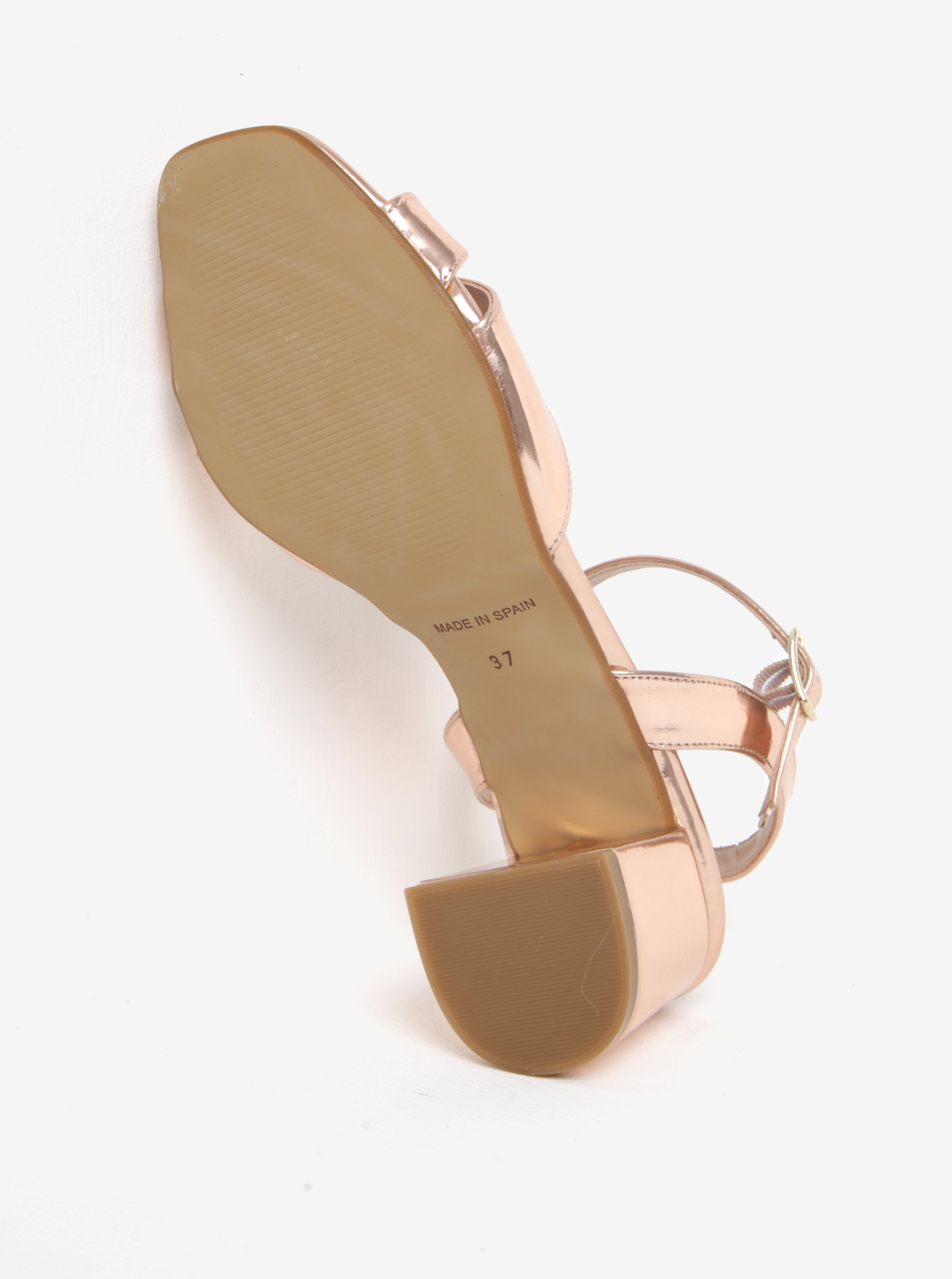 07b0c7370c Lesklé sandále v ružovozlatej farbe na širokom podpätku OJJU ...