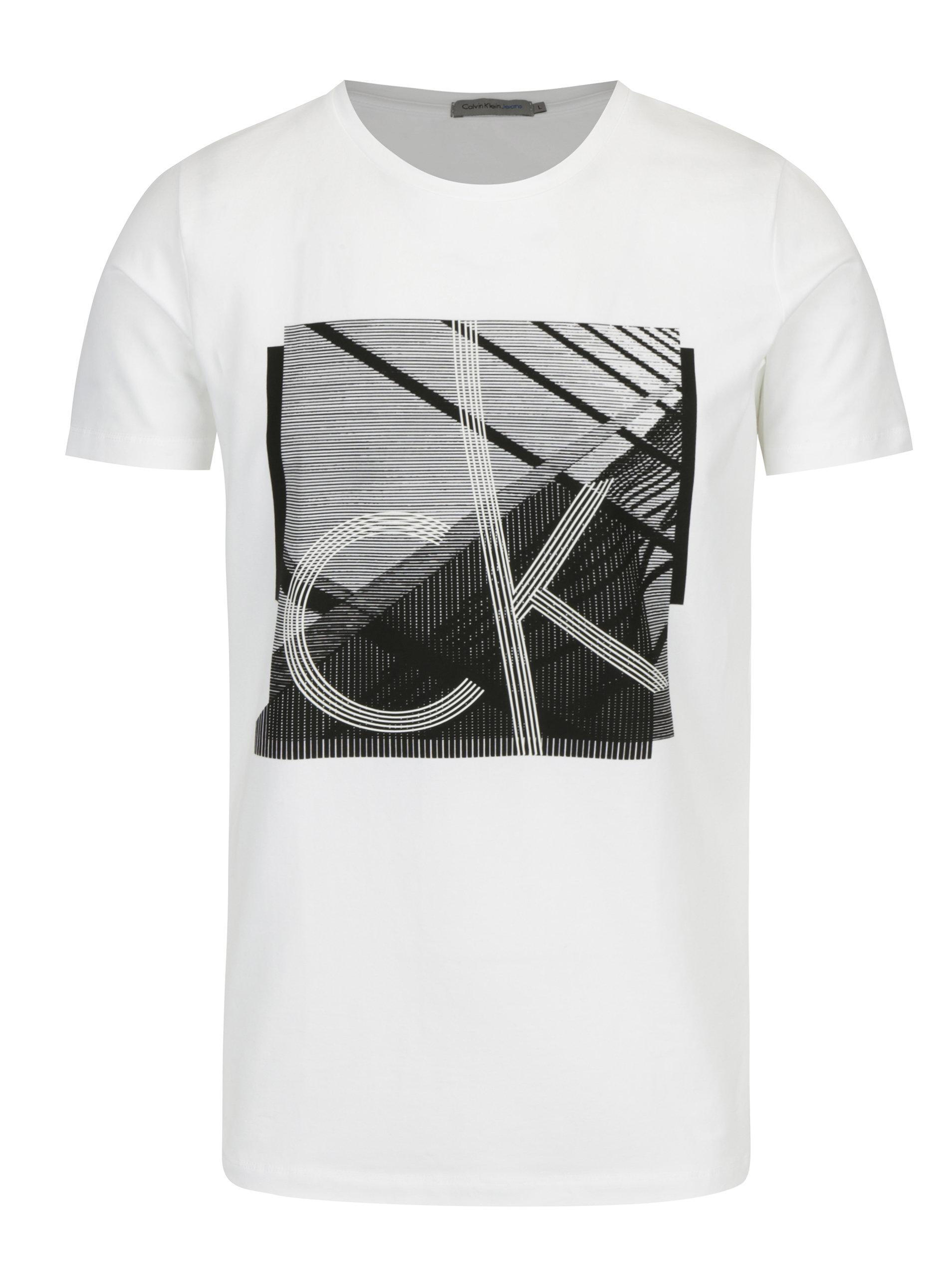 8f4eeae39 Bílé pánské tričko s černým potiskem Calvin Klein Jeans Tradon ...