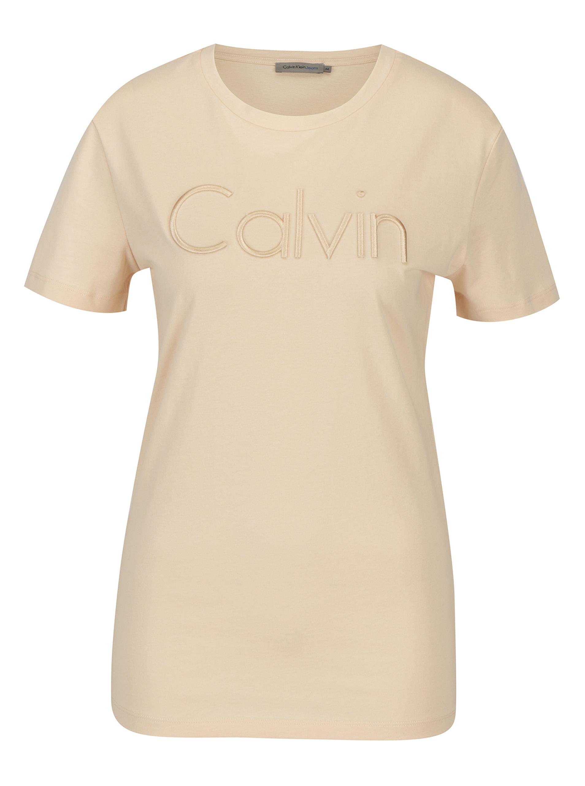 ecccf60a2c69 Světle růžové dámské tričko s výšivkou Calvin Klein Jeans Tanya ...