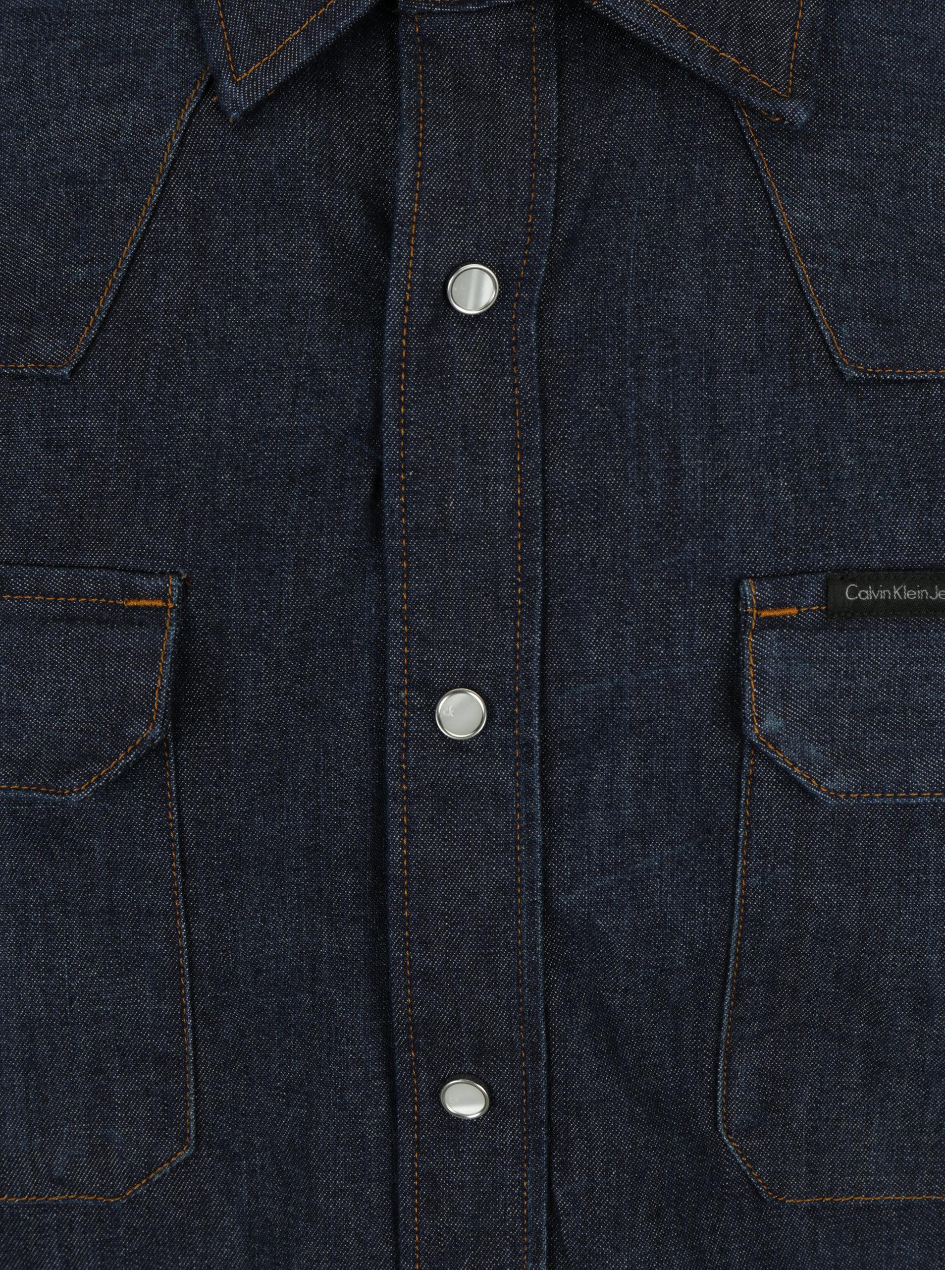 a5eb473bc115 Tmavomodrá pánska rifľová košeľa s dlhým rukávom Calvin Klein Jeans Archive  Western ...