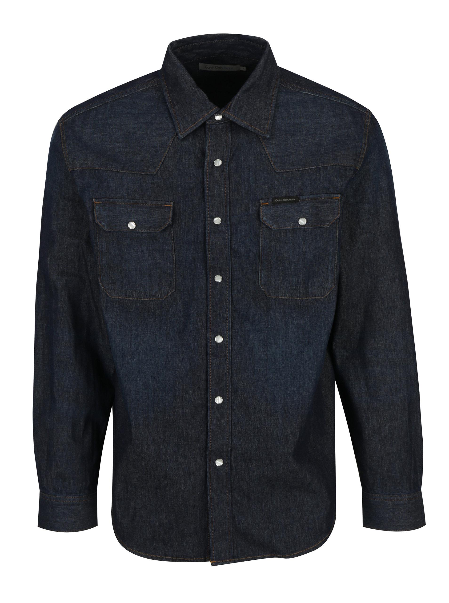 b225a85760a5 Tmavomodrá pánska rifľová košeľa s dlhým rukávom Calvin Klein Jeans Archive  Western ...