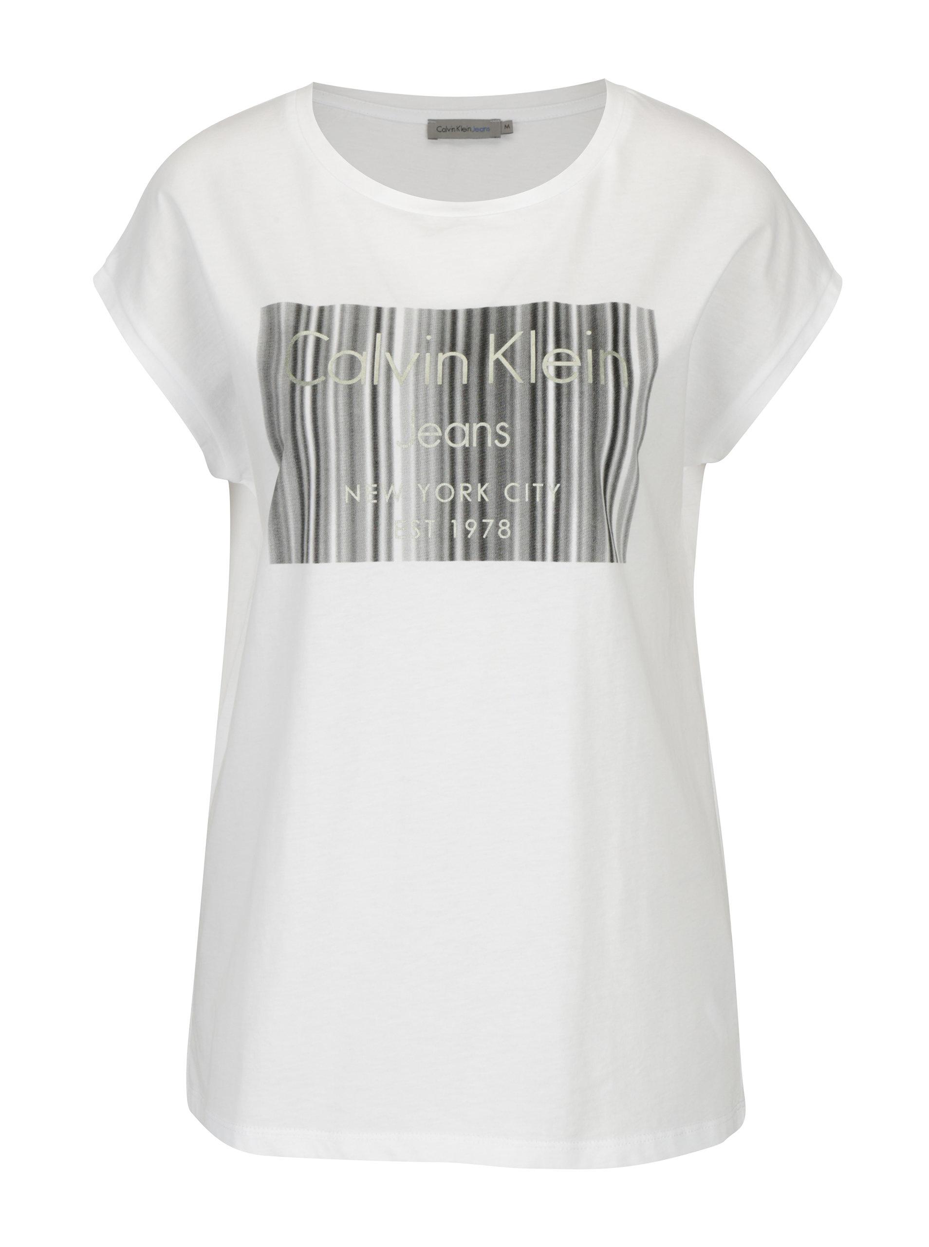 b7fa24def Bílé dámské tričko s potiskem Calvin Klein Jeans Tika | ZOOT.cz