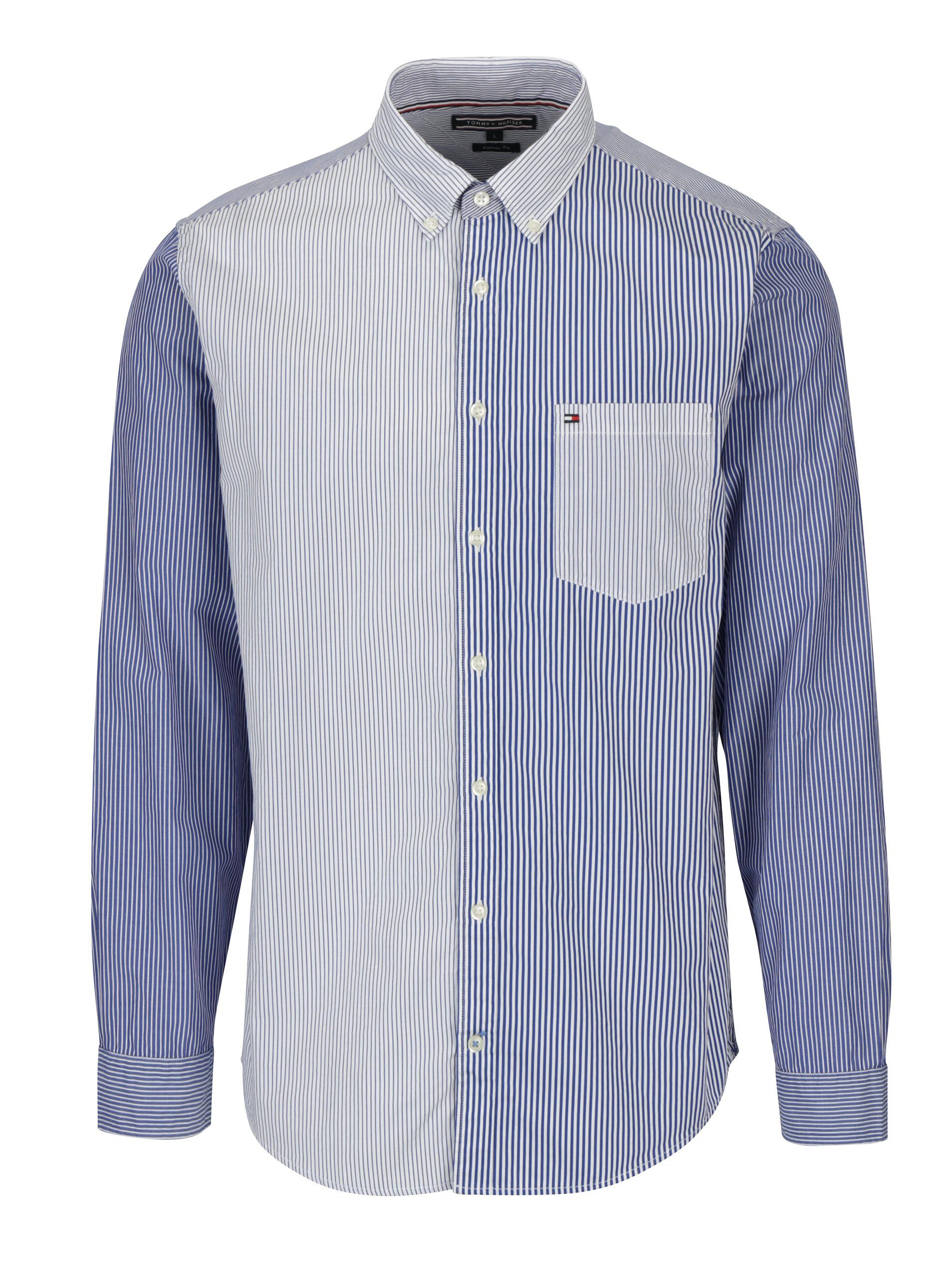 dac30a70e68b Bílo-modrá pánská pruhovaná regular fit košile Tommy Hilfiger Mixed ...
