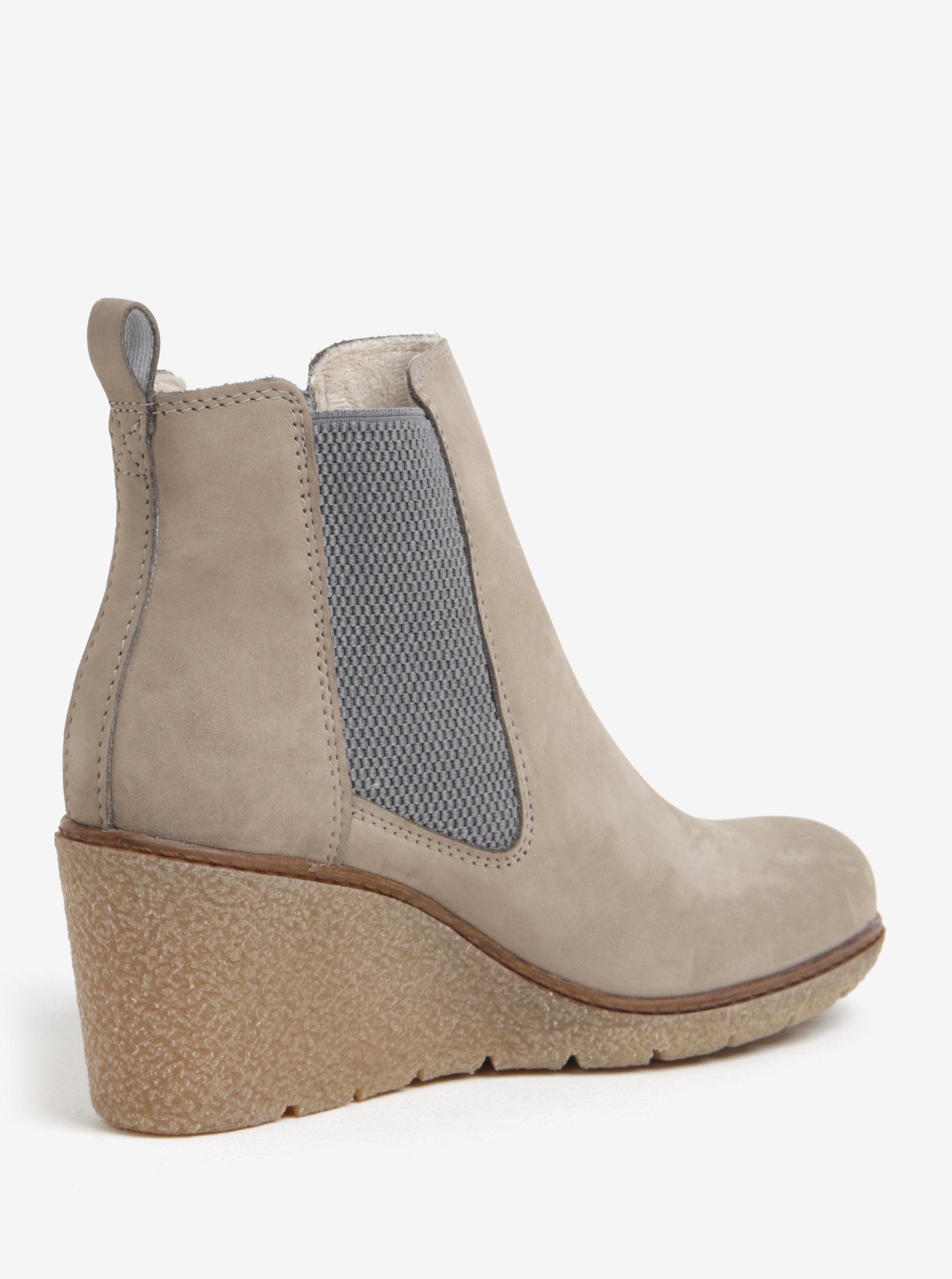 f65aebb6ce1f Béžové kožené členkové chelsea topánky na klinovom podpätku Tamaris ...