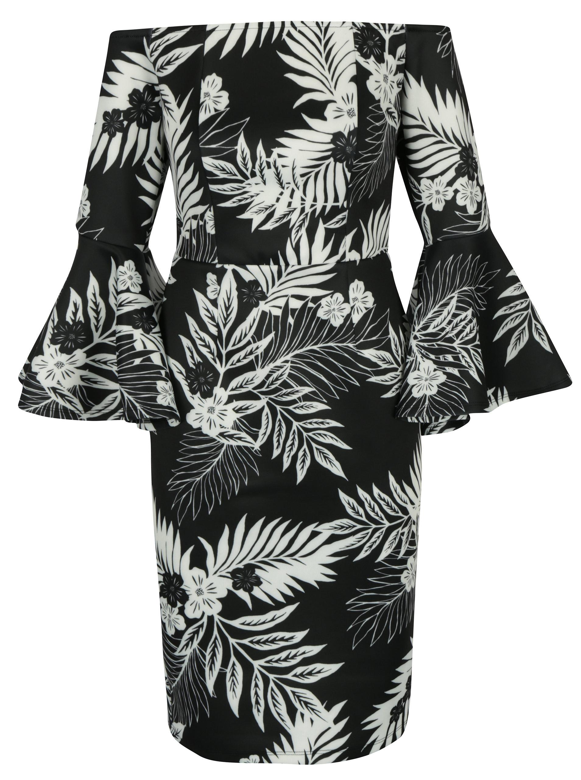 f09635929ad6 Krémovo-čierne vzorované šaty s holými ramenami a zvonovými rukávmi Dorothy  Perkins ...