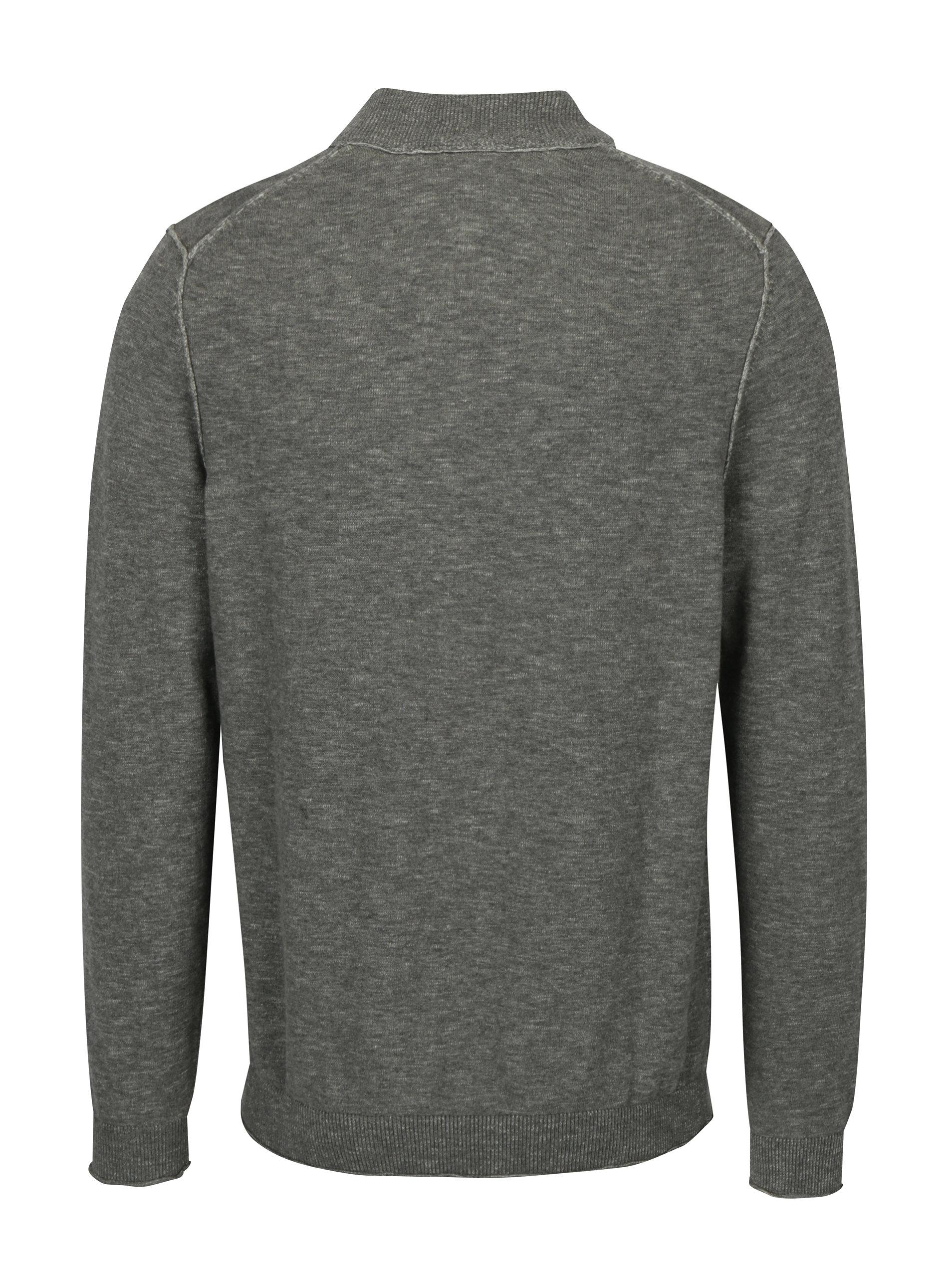 c8267fe9cee8 Svetlosivý pánsky melírovaný sveter so zipsom s.Oliver