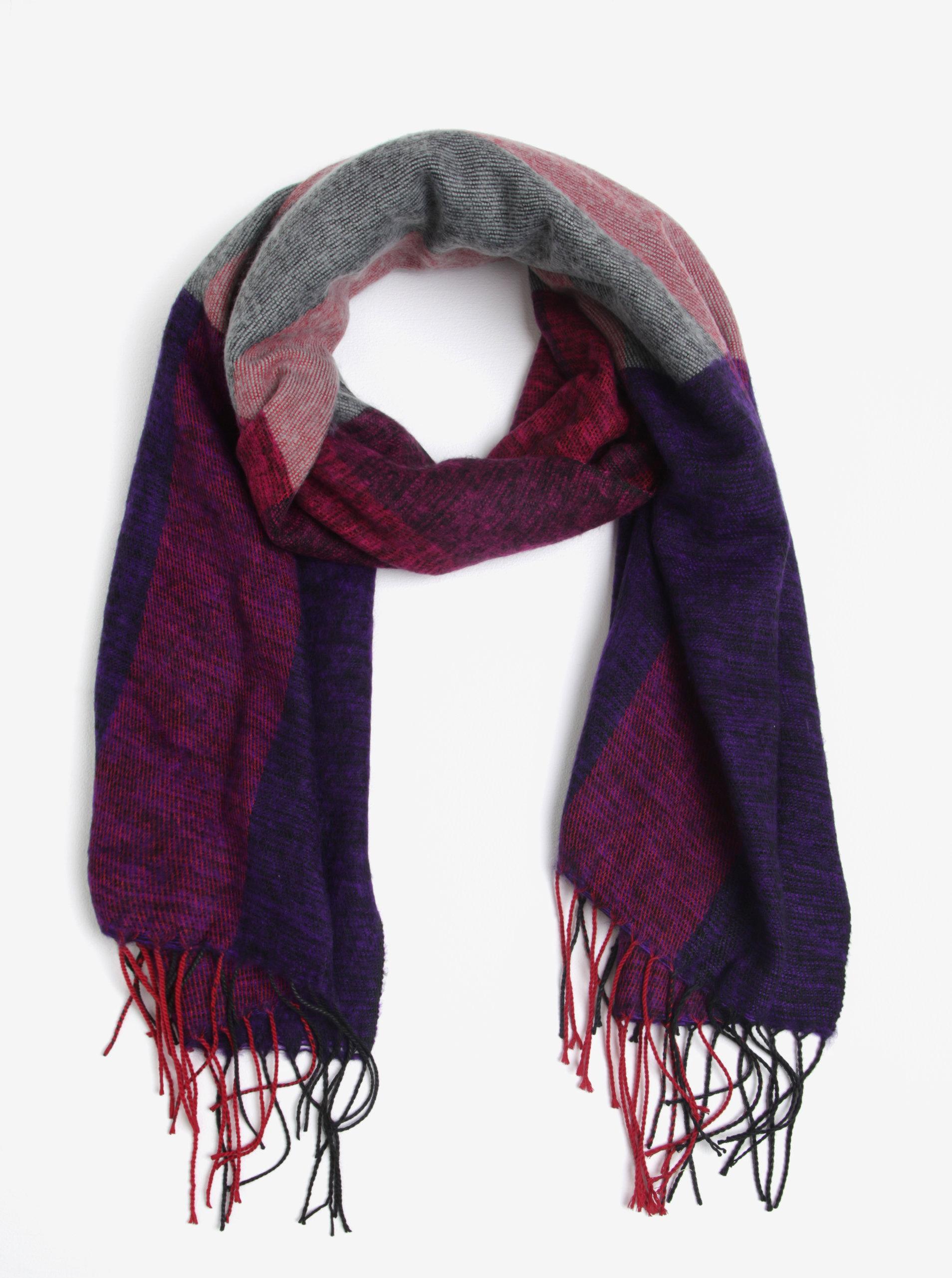 Vínovo-fialový vzorovaný šál so strapcami Dorothy Perkins ... 4e349f7ae8