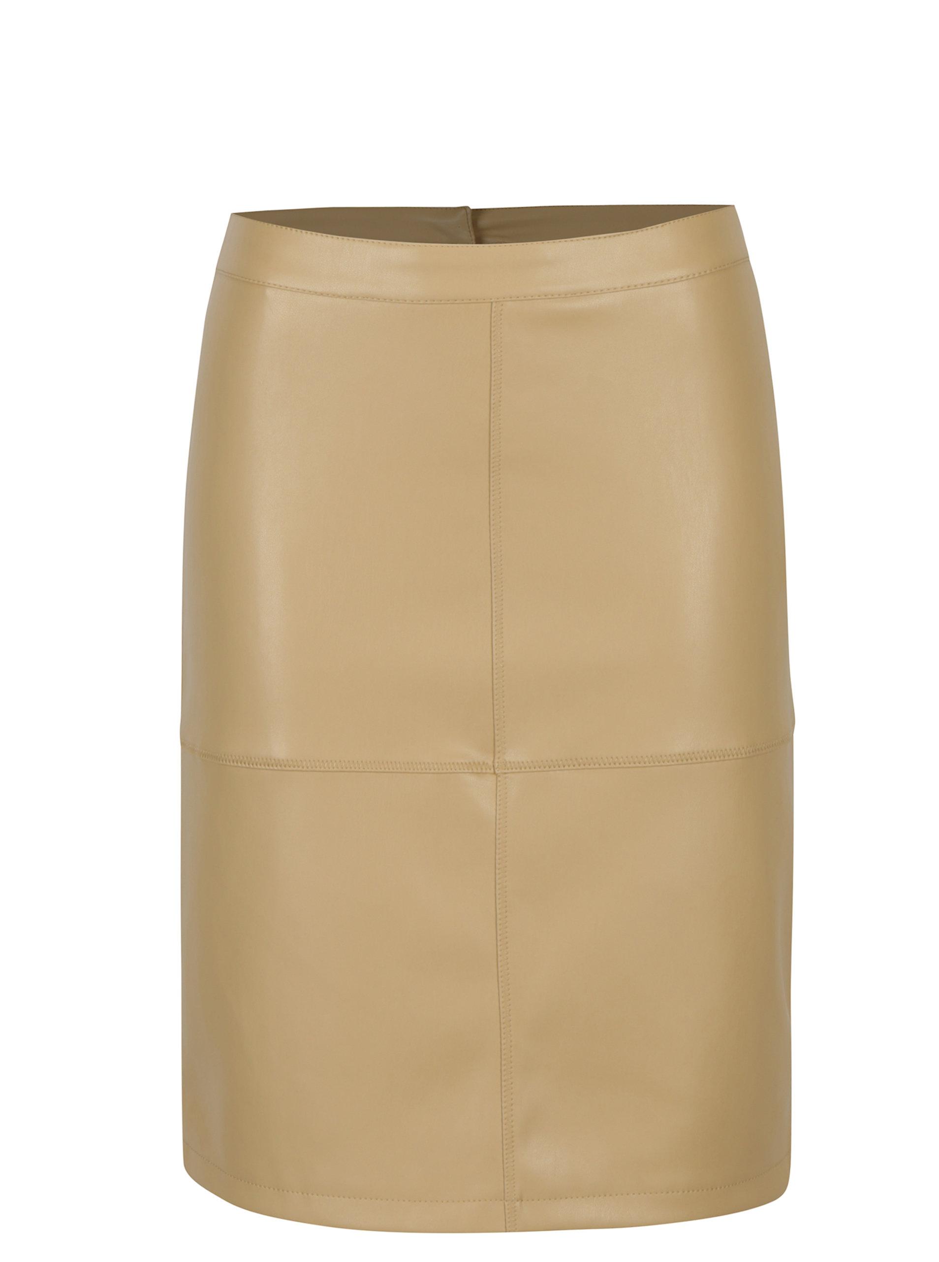 fc9e483d21cc Béžová koženková sukně VILA Pen ...