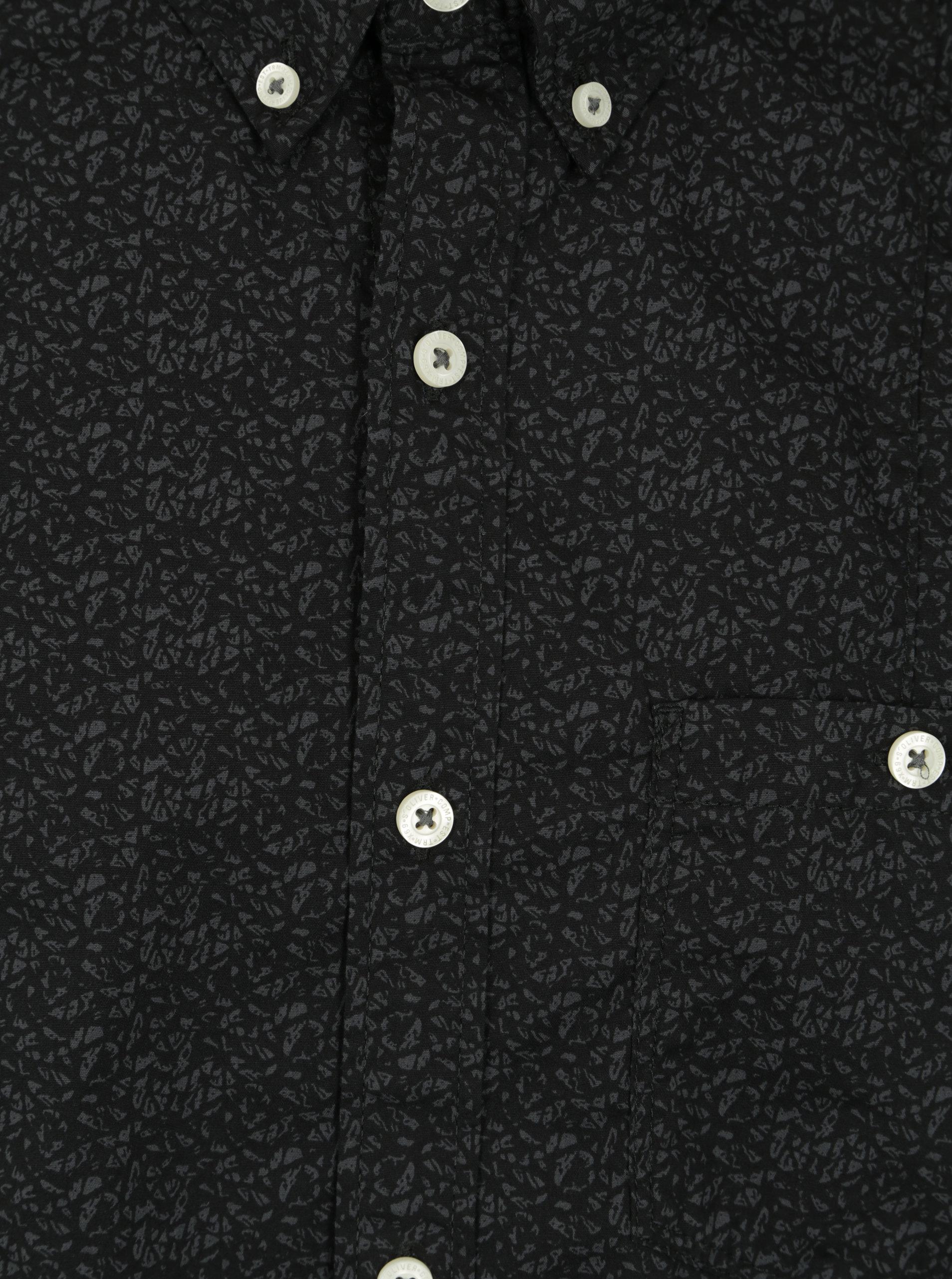 Černá pánská vzorovaná slim fit košile s.Oliver  302a795003