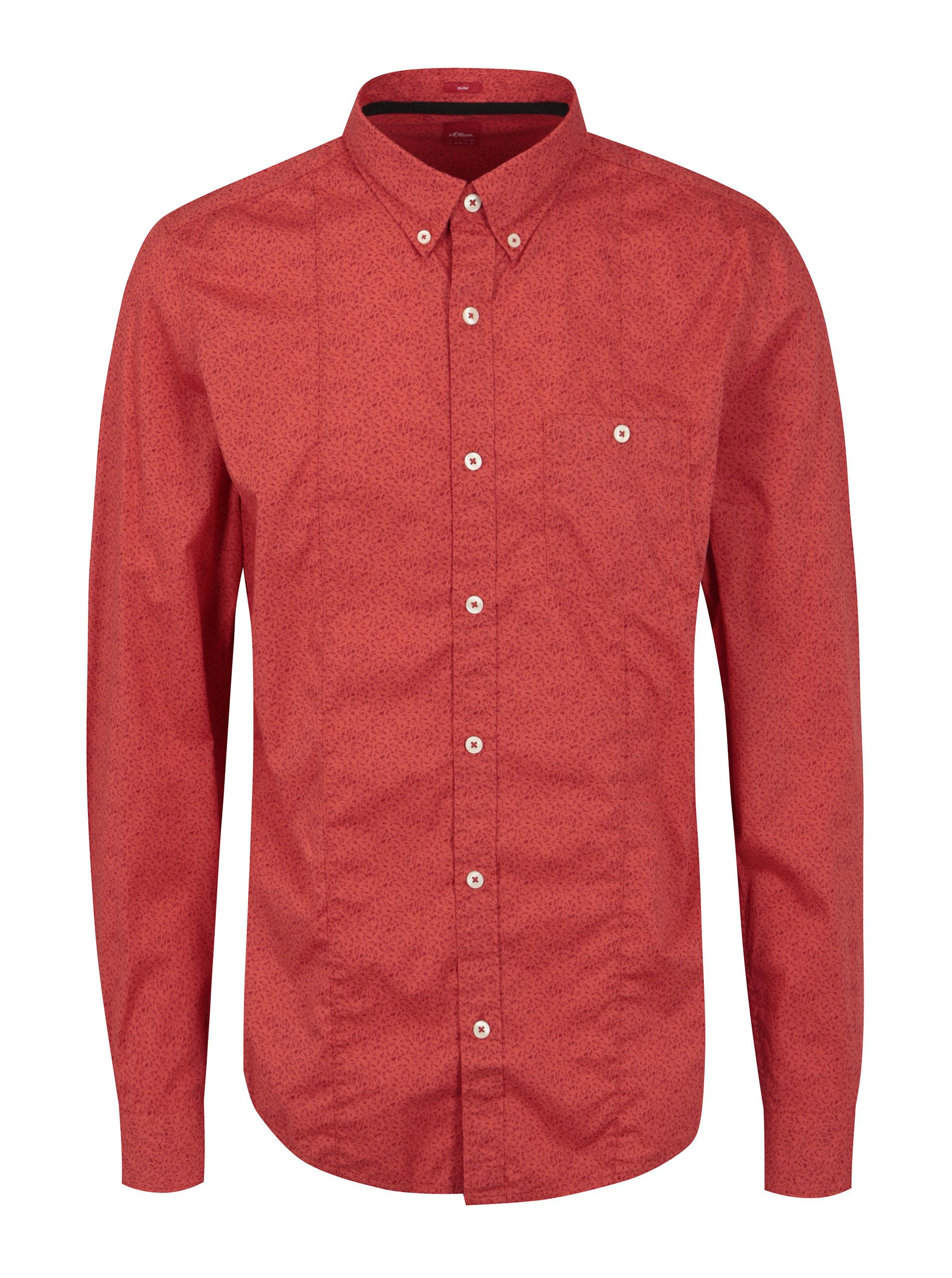 d108585e0482 Červená pánska vzorovaná slim fit košeľa s.Oliver