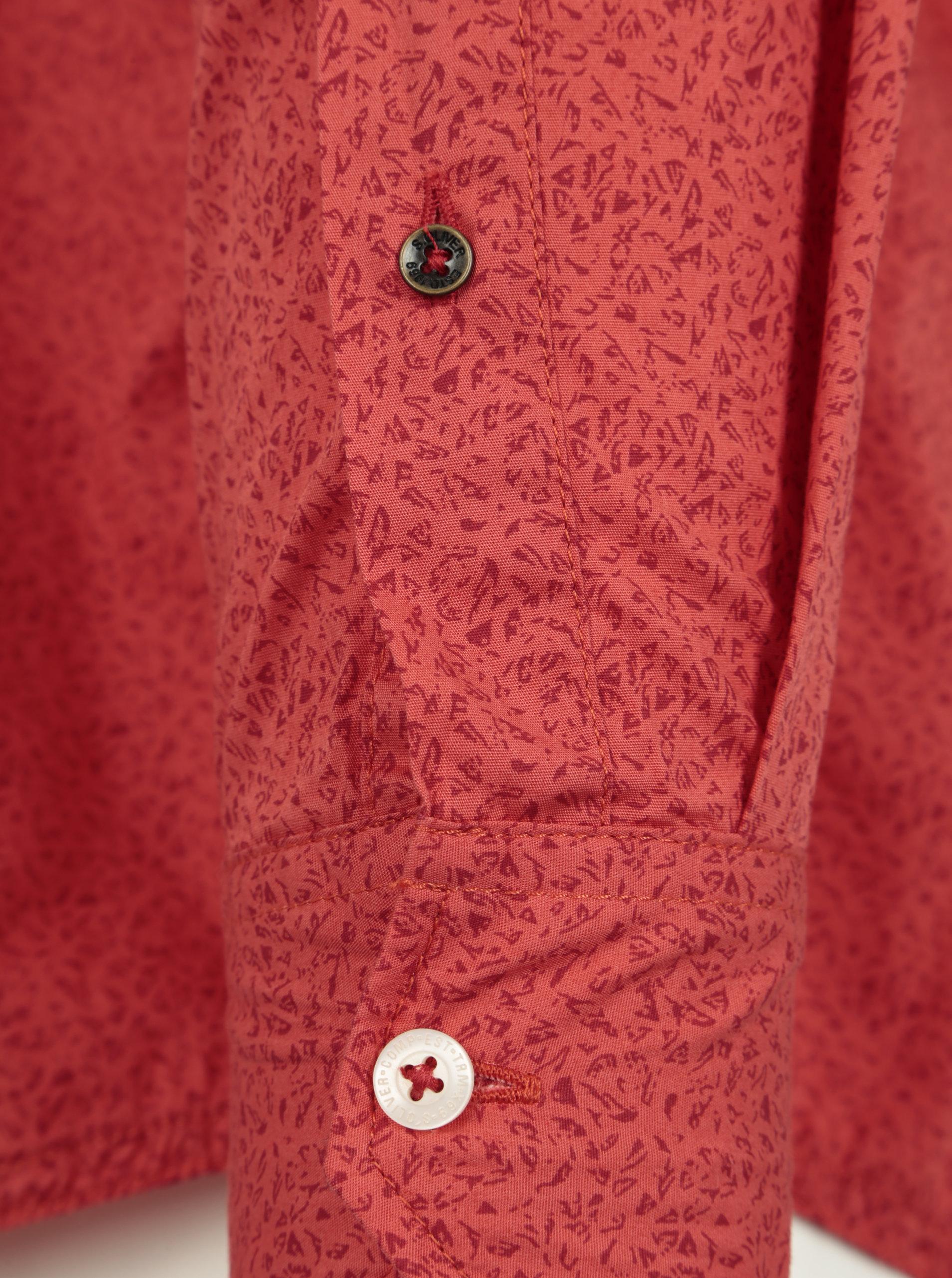 d3a5dee6d Červená pánska vzorovaná slim fit košeľa s.Oliver | ZOOT.sk