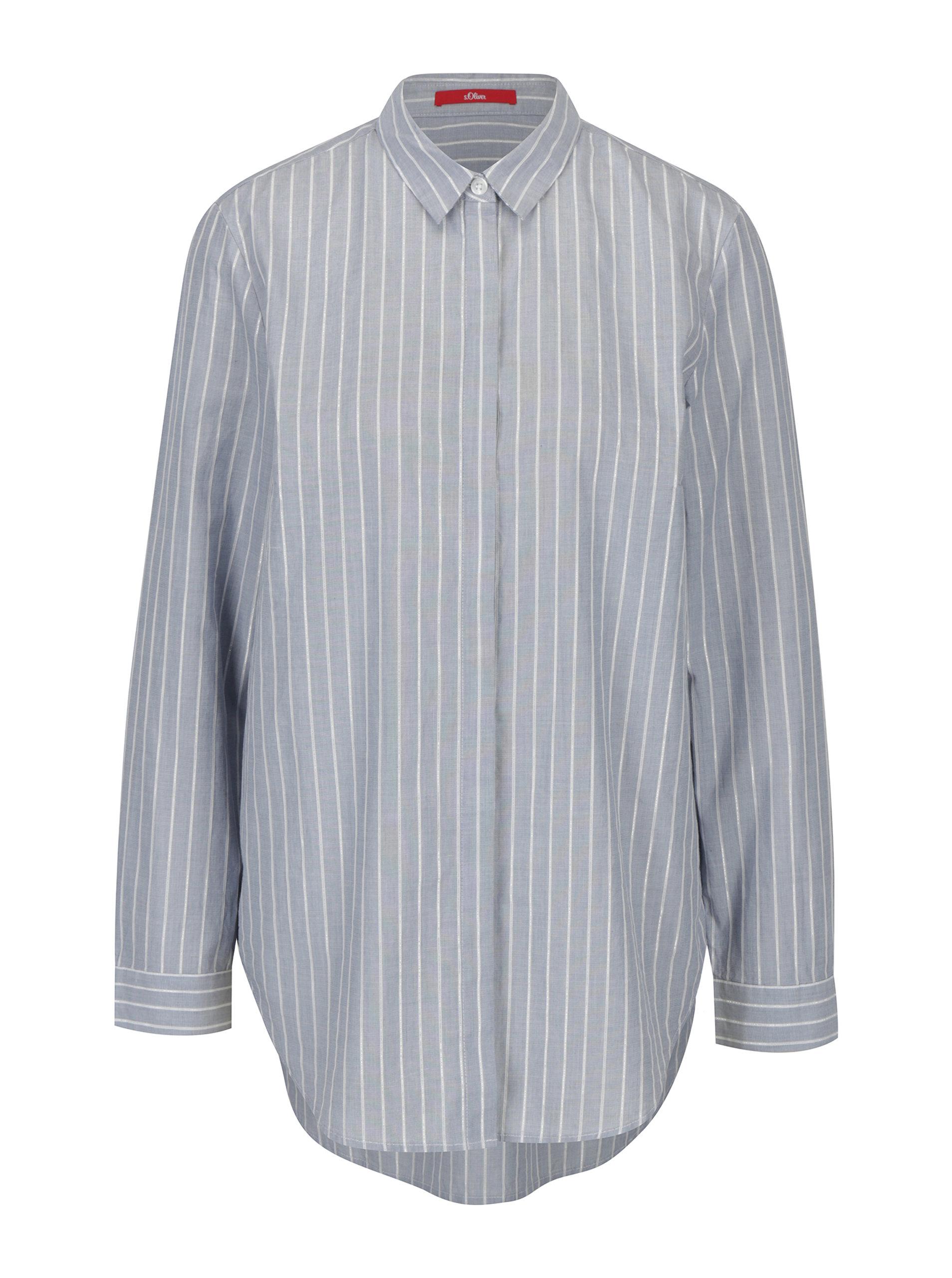 51667a278df8 Modrá dámska pruhovaná košeľa s.Oliver ...
