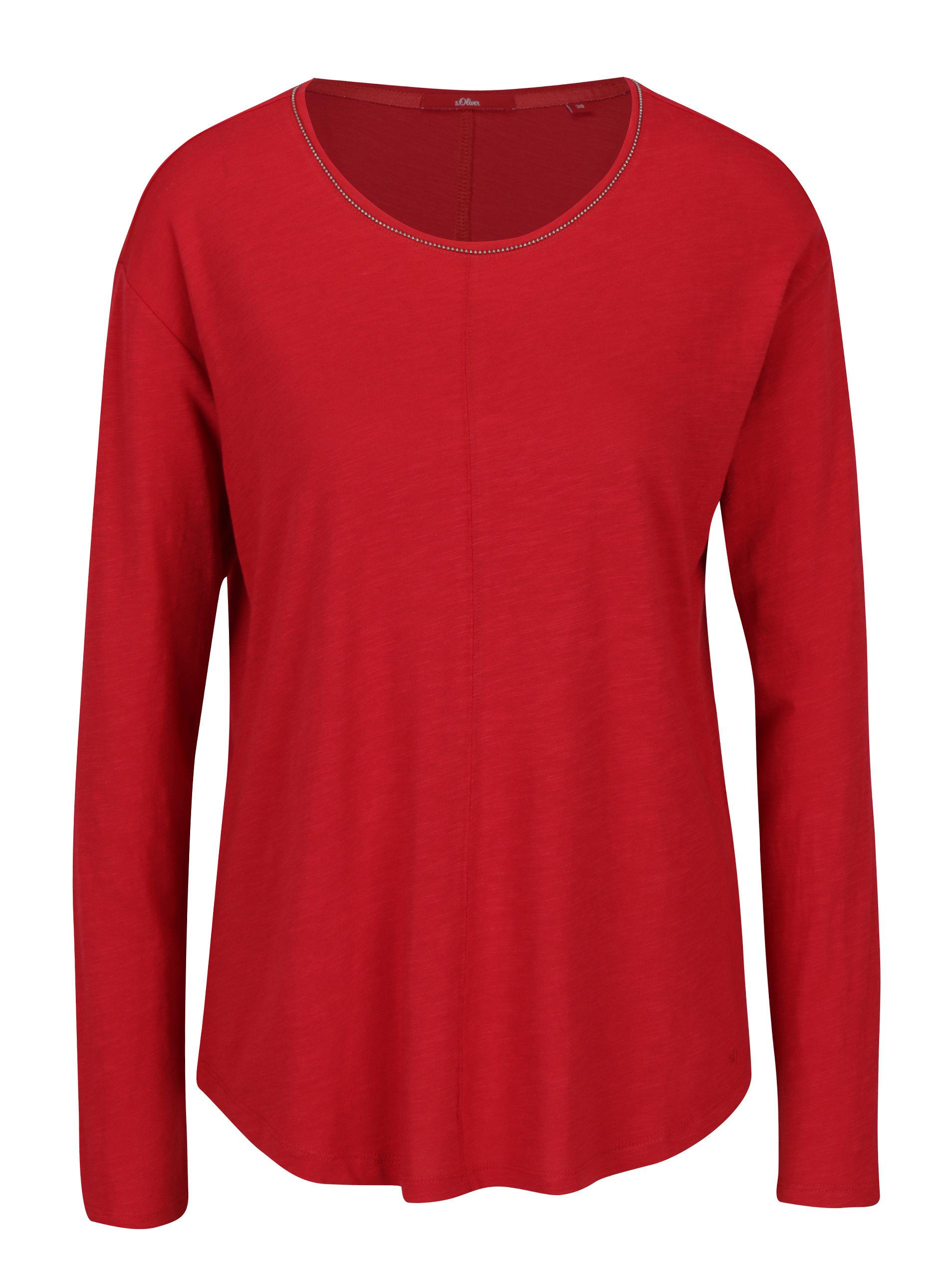 Červené dámské volné tričko s dlouhým rukávem s.Oliver  7a16160563