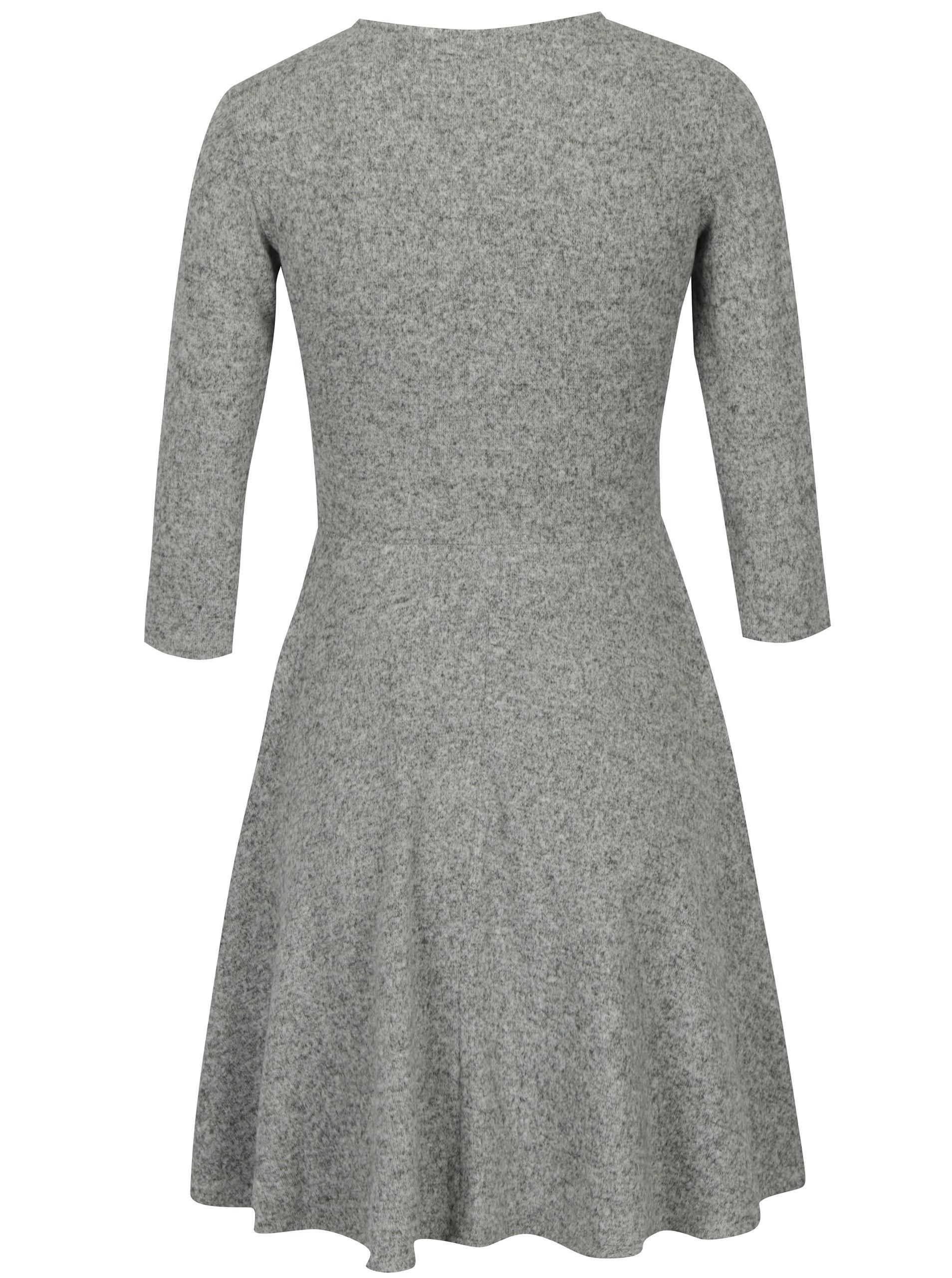 6820992a13ae Sivé melírované šaty s prekladaným výstrihom Dorothy Perkins Petite ...