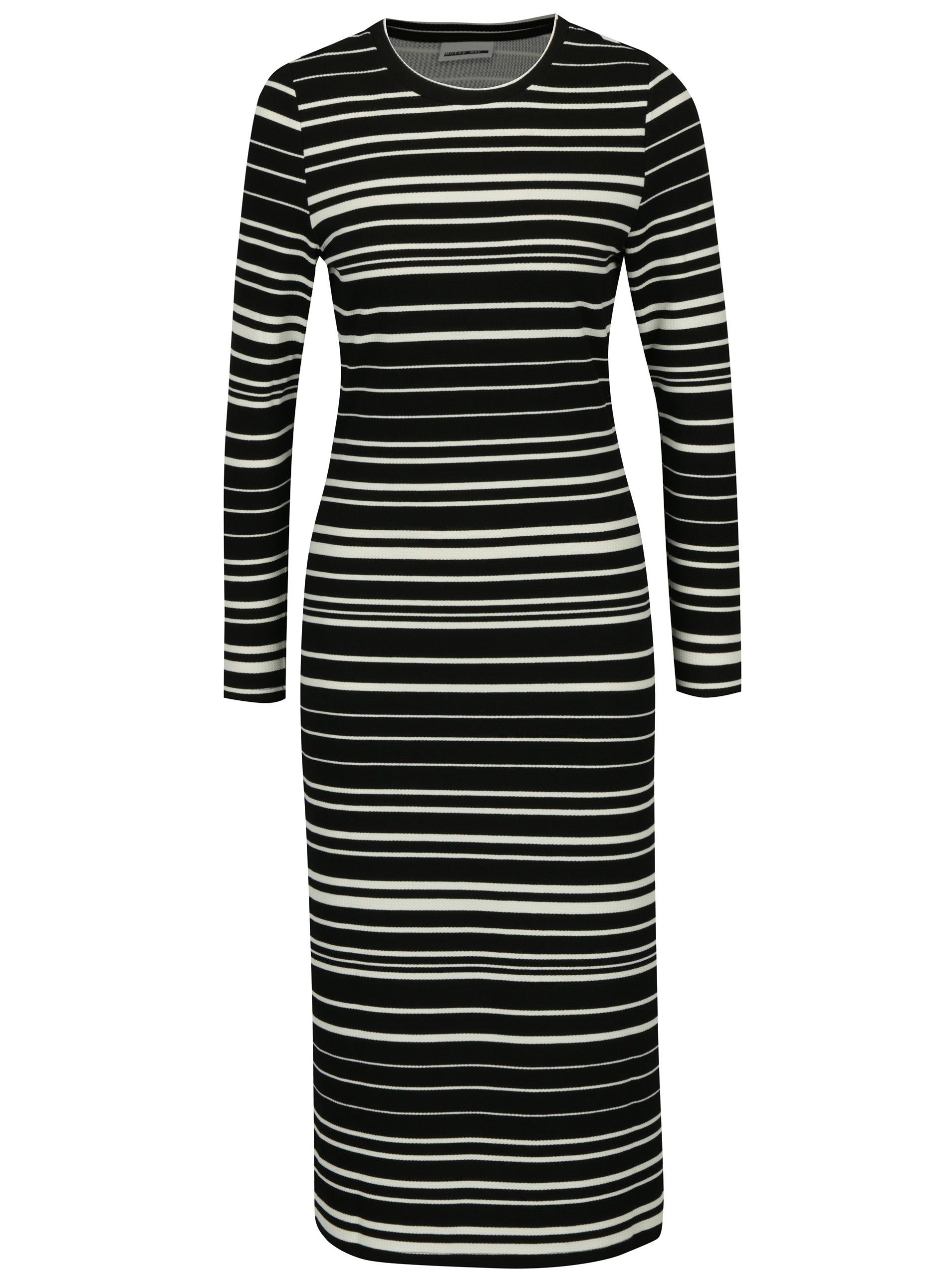 Krémovo-černé pruhované šaty Noisy May Lina ... 0afee86485
