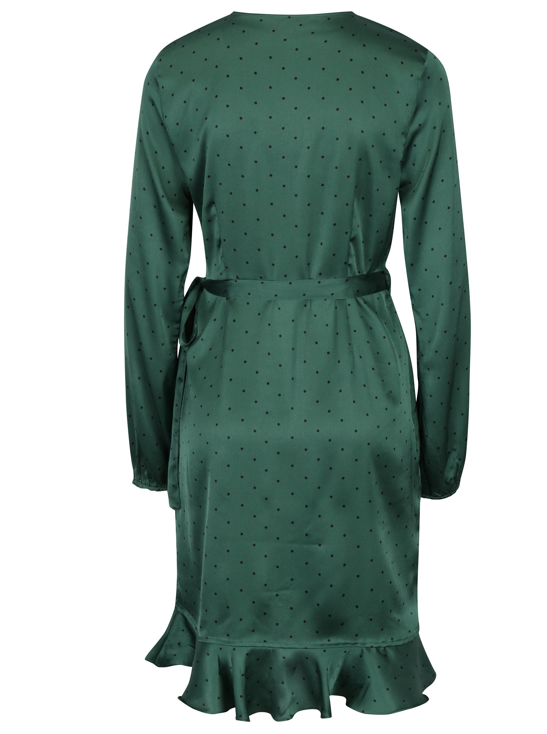 3edc283f0d4e Tmavozelené bodkované zavinovacie šaty VERO MODA Henna ...