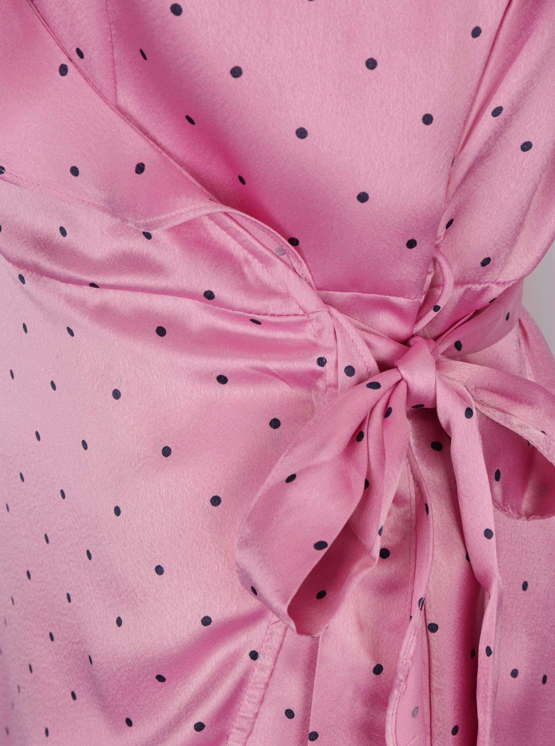 17c0bb111986 Ružové bodkované zavinovacie šaty VERO MODA Henna ...