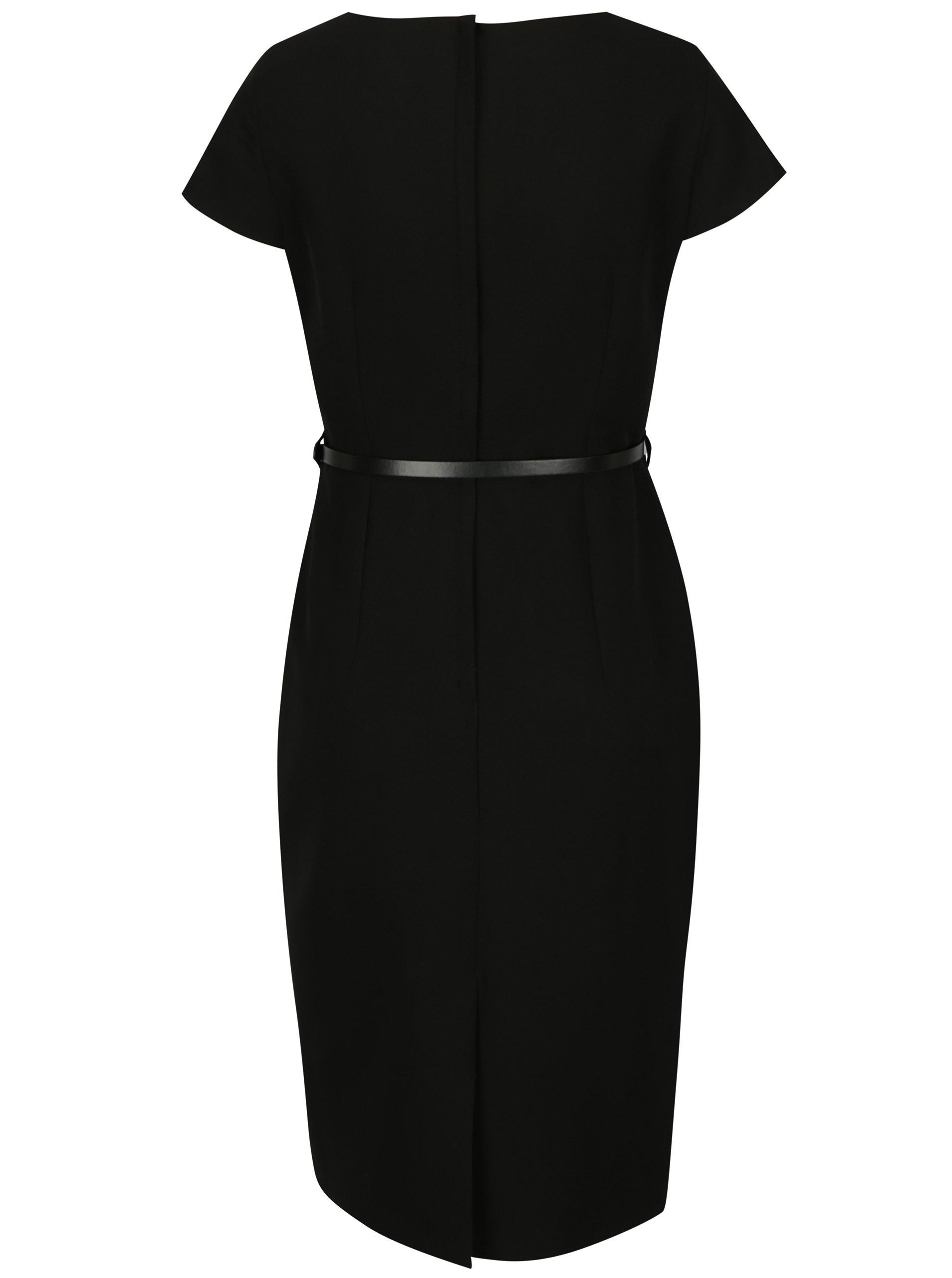 Černé pouzdrové šaty s páskem Dorothy Perkins - Akční cena ... 24fae84e9b
