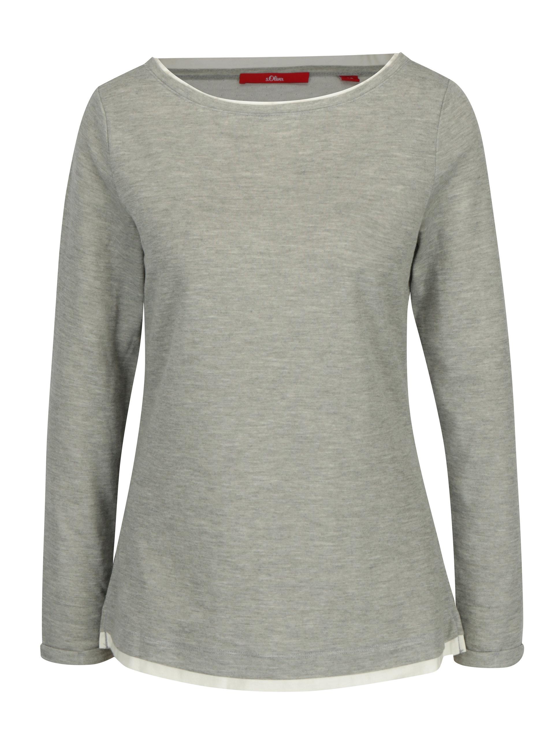 Šedé dámské tričko s dlouhým rukávem s.Oliver  c2bc225986