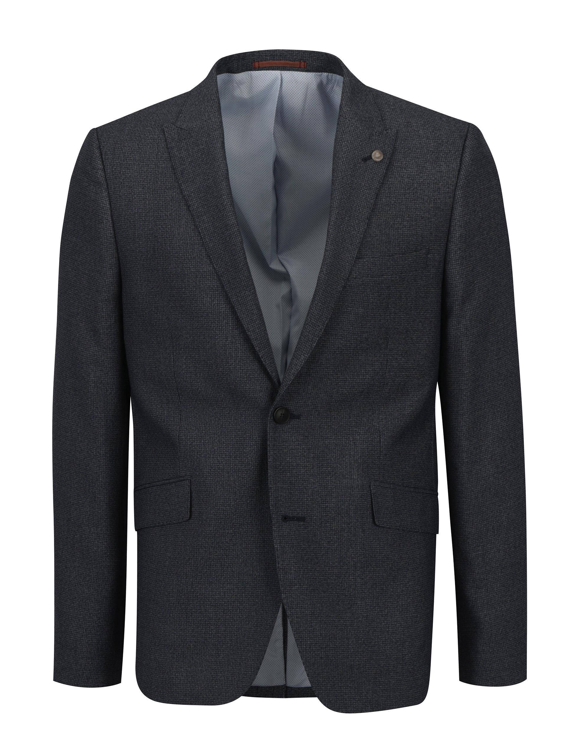 Modré oblekové skinny sako s jemným vzorem Burton Menswear London
