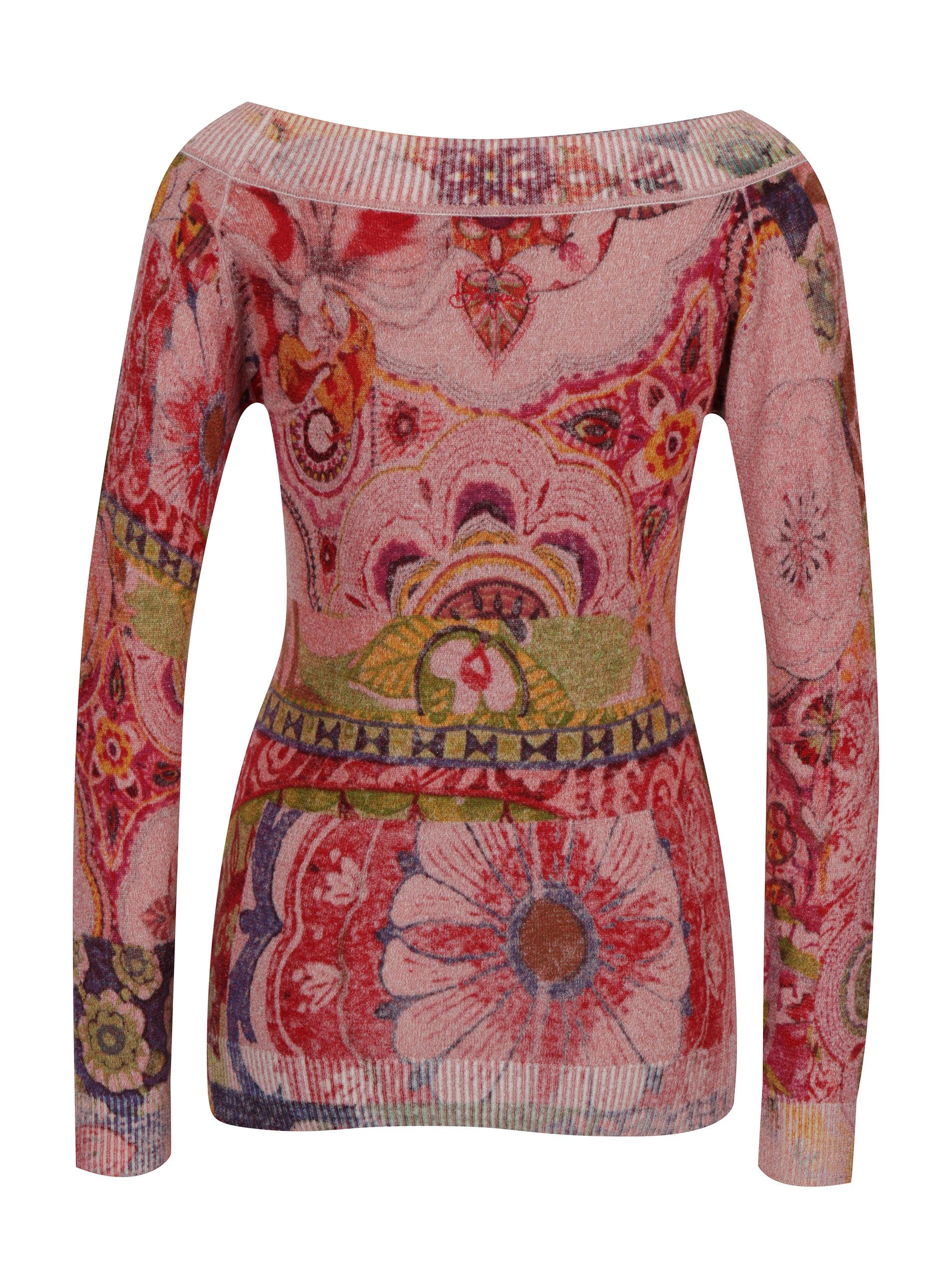 Růžový vzorovaný svetr s lodičkovým výstřihem Desigual Purpura ... e6ac2df2f9a