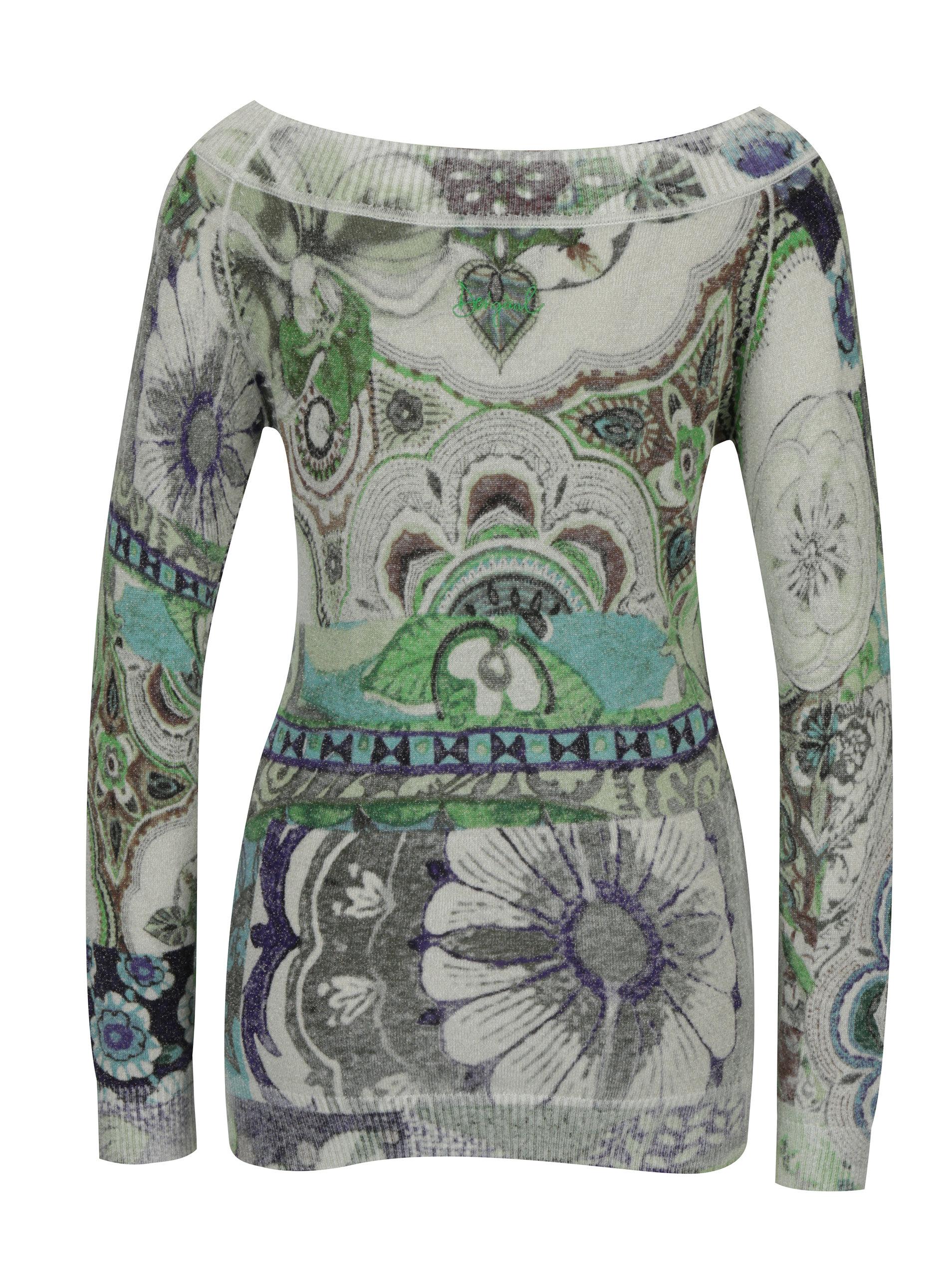 Šedý vzorovaný svetr s lodičkovým výstřihem Desigual Purpura ... 1c6d31741b8