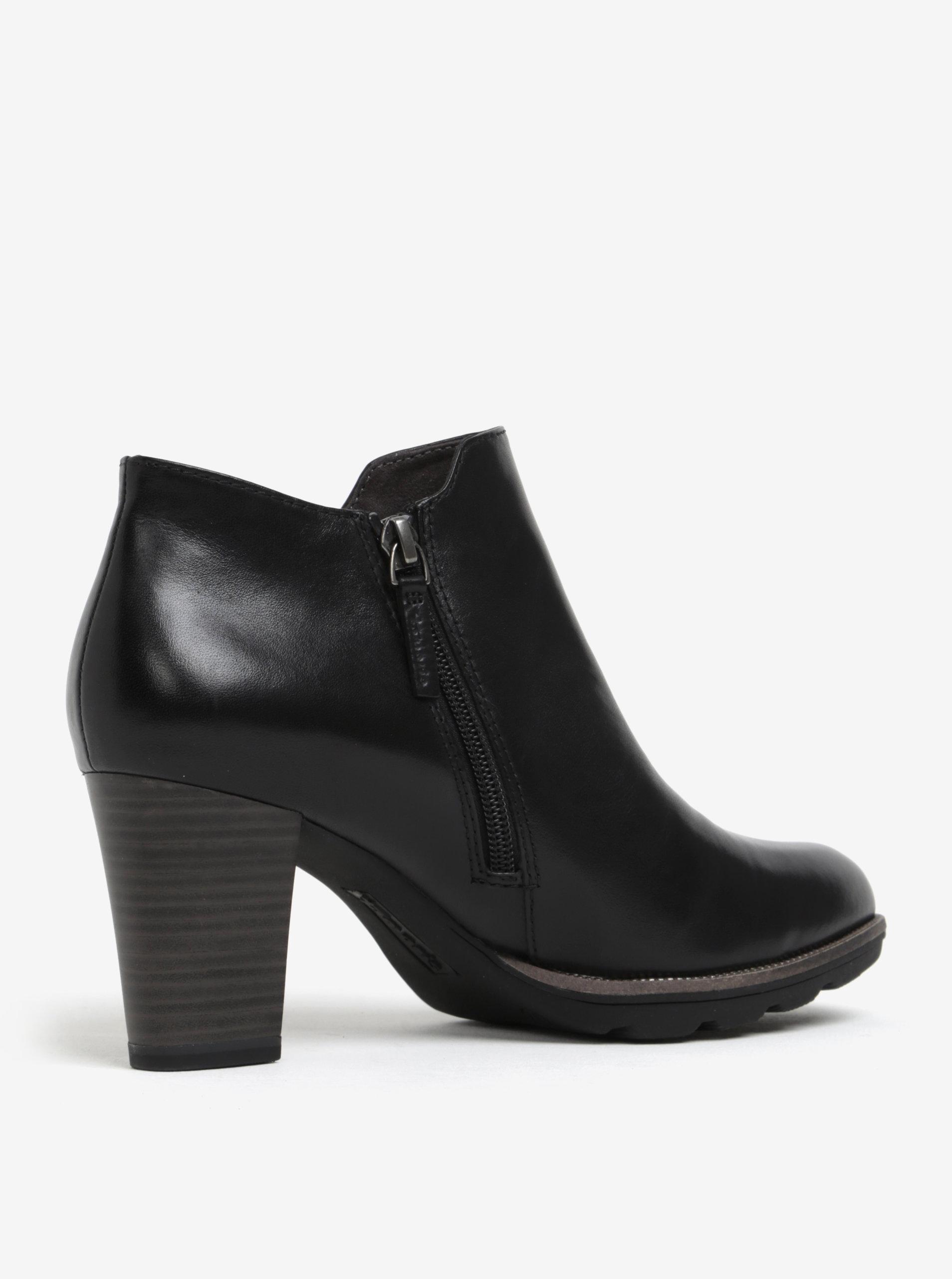 69c10b3d935 Černé kožené kotníkové boty na podpatku Tamaris - Akční cena ...