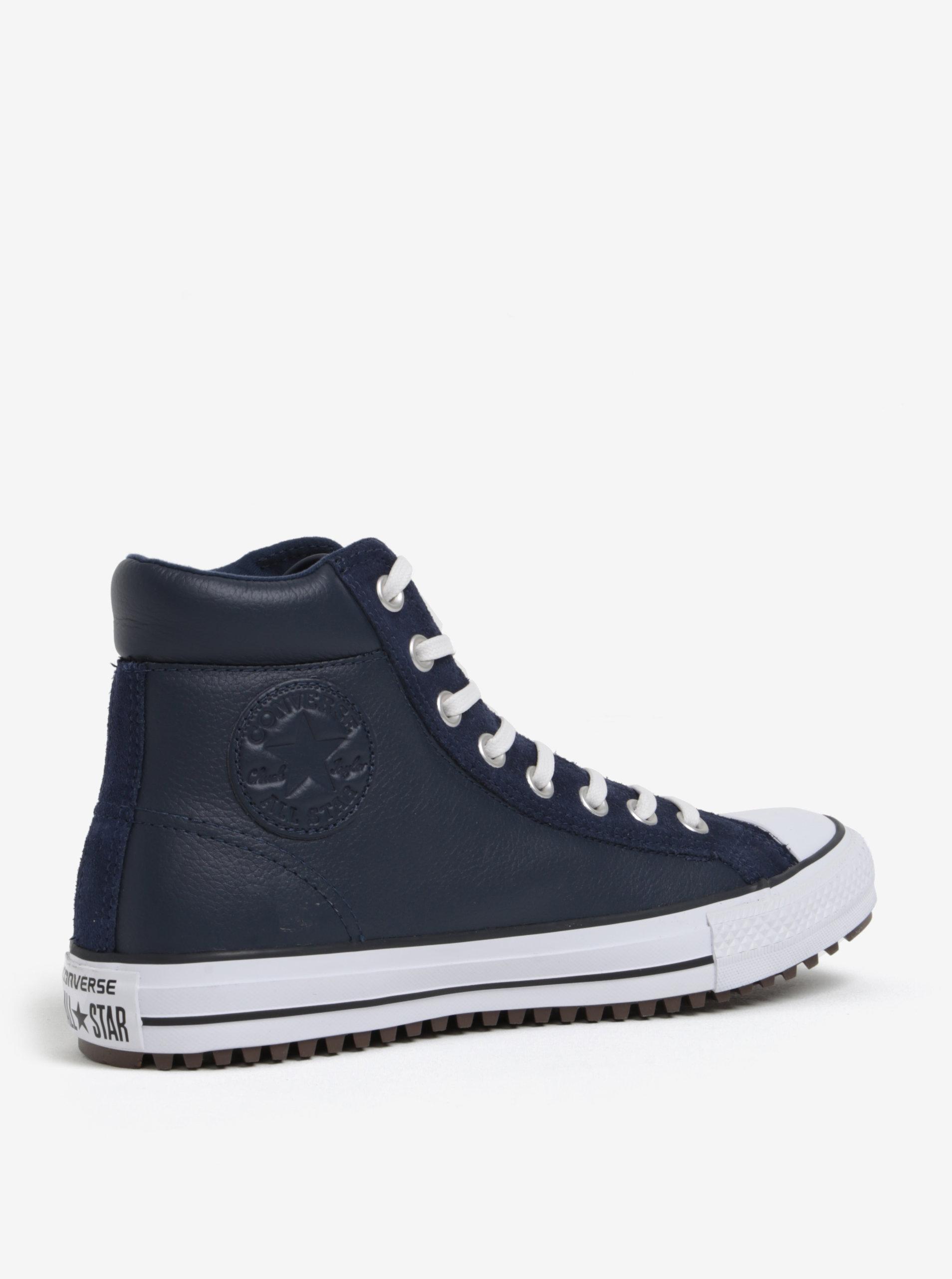3577aa97070 Tmavě modré pánské kožené kotníkové tenisky Converse Chuck Taylor ...