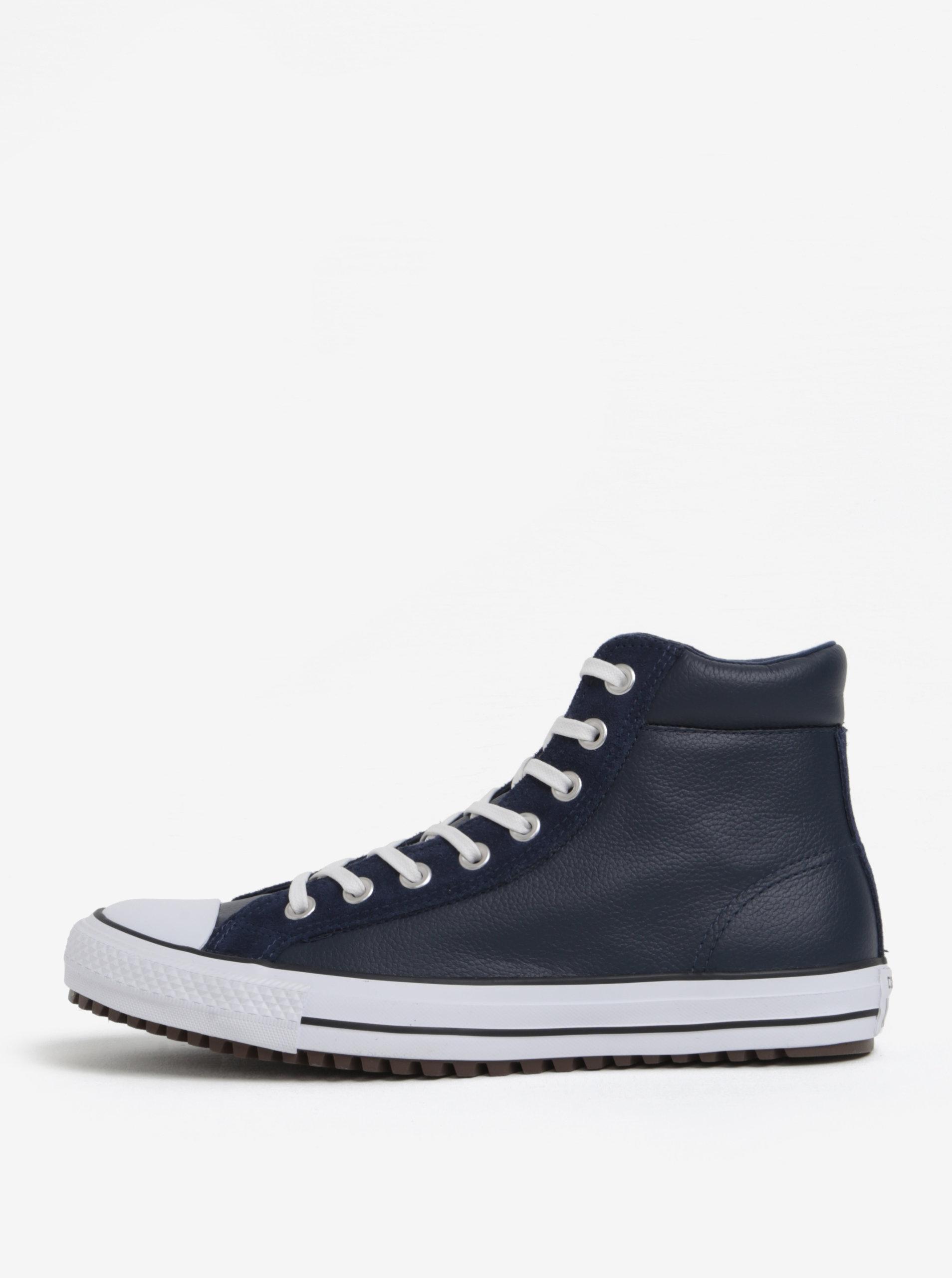 Tmavě modré pánské kožené kotníkové tenisky Converse Chuck Taylor ... 25a3d73803