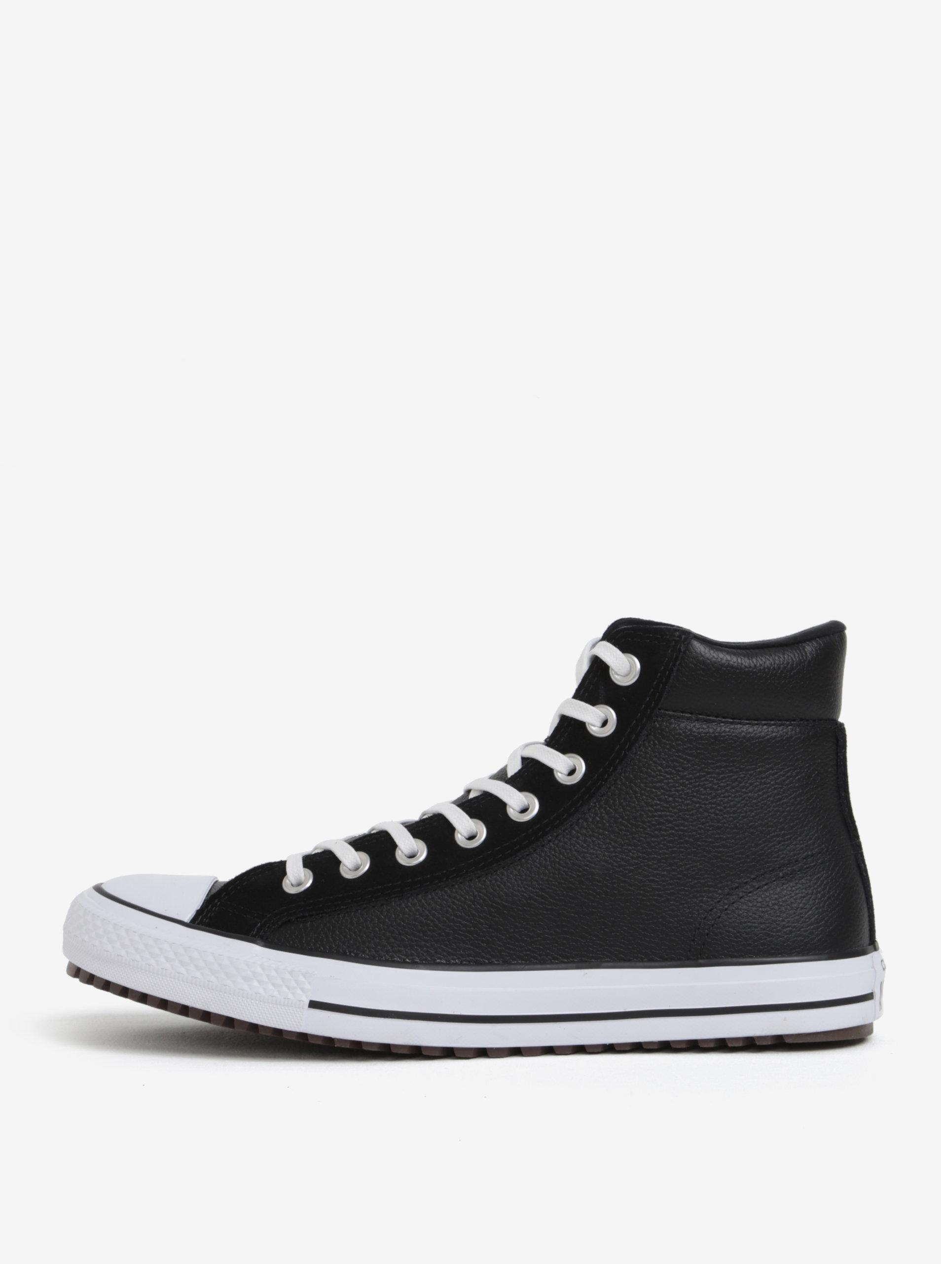 7269a81023b Černé pánské kožené kotníkové tenisky Converse Chuck Taylor ...