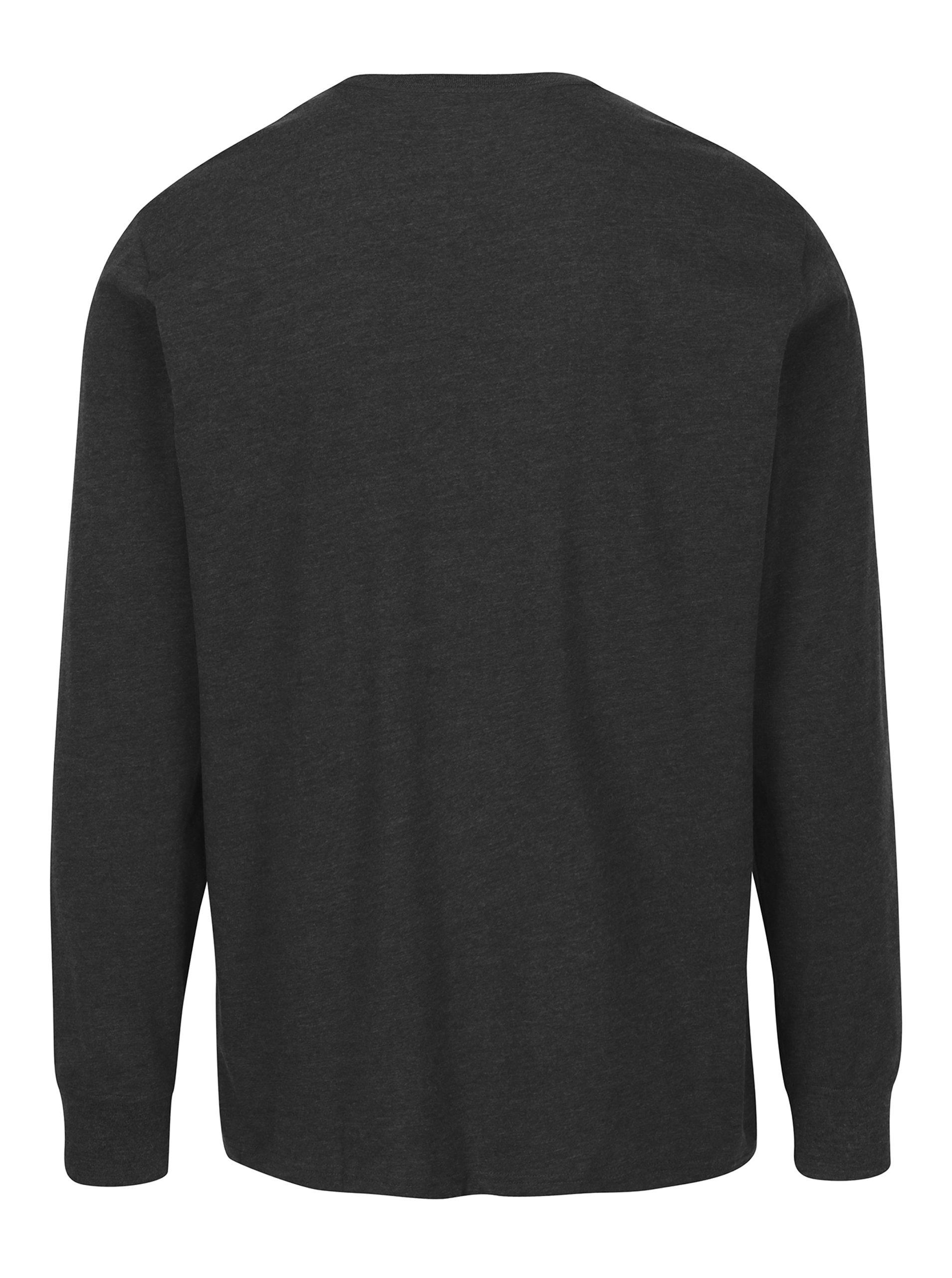 63032428e4 Tmavosivé pánske melírované tričko s dlhým rukávom Converse Tee Cuff ...