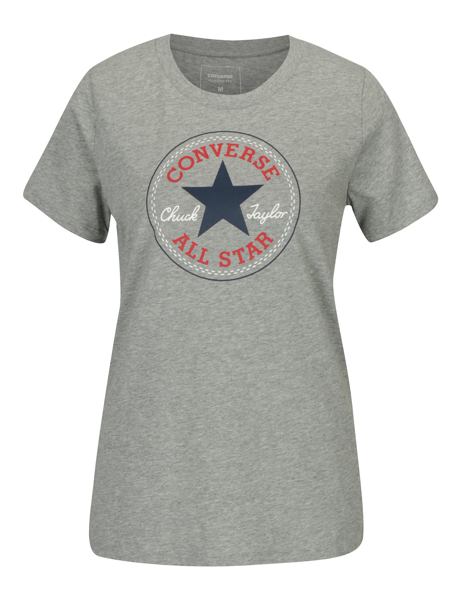 Šedé dámské žíhané tričko s potiskem Converse Core ... 9e65411e14