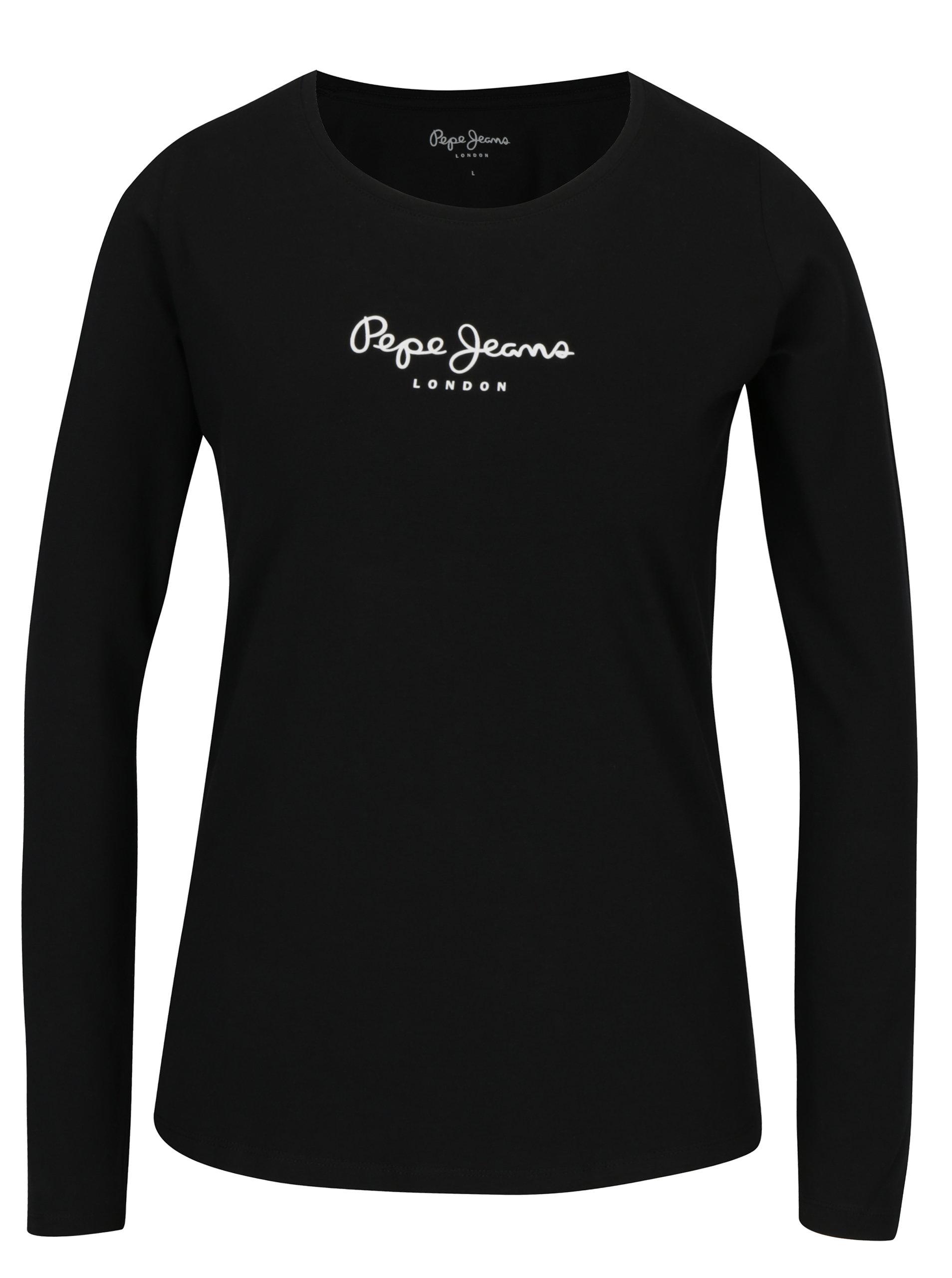 Černé dámské tričko s potiskem Pepe Jeans New Virginia ... e9b7b69b6d
