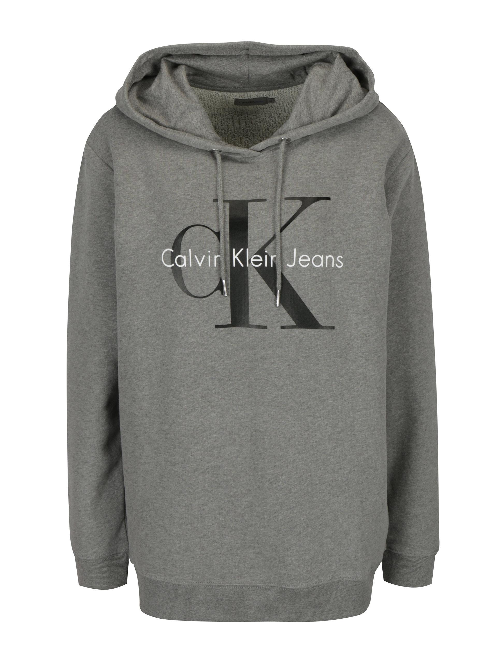 Šedá dámská mikina s kapucí a potiskem Calvin Klein Jeans ... becb6a5410