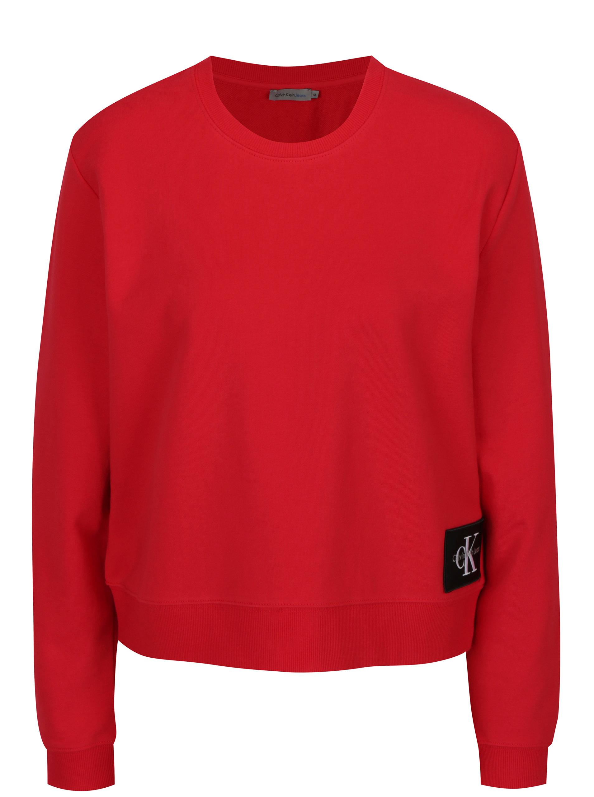 Červená dámská krátká basic mikina Calvin Klein Jeans ... 37015a11a53