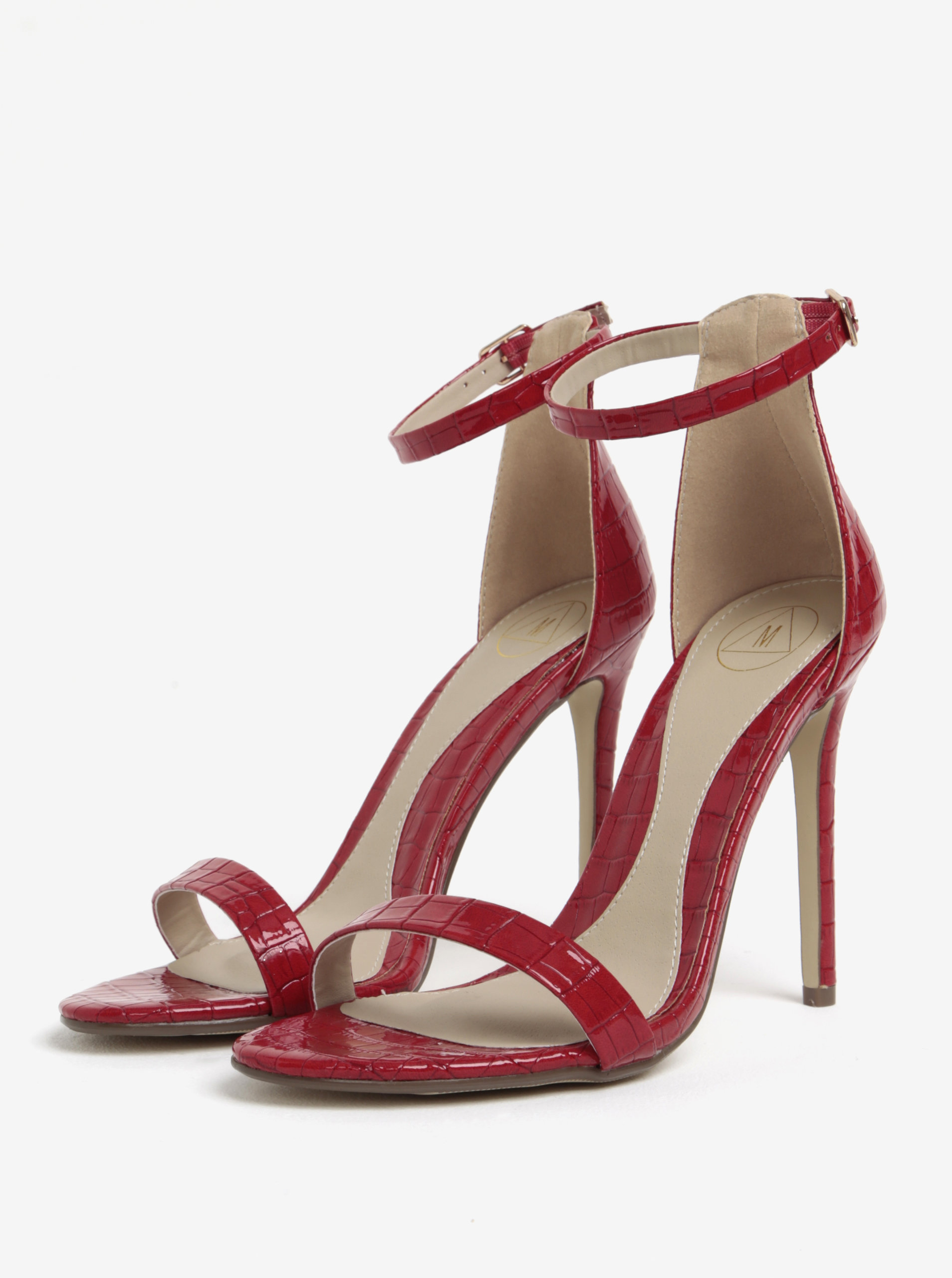 Červené sandálky na jehlovém podpatku MISSGUIDED ... 1e49ccf7384