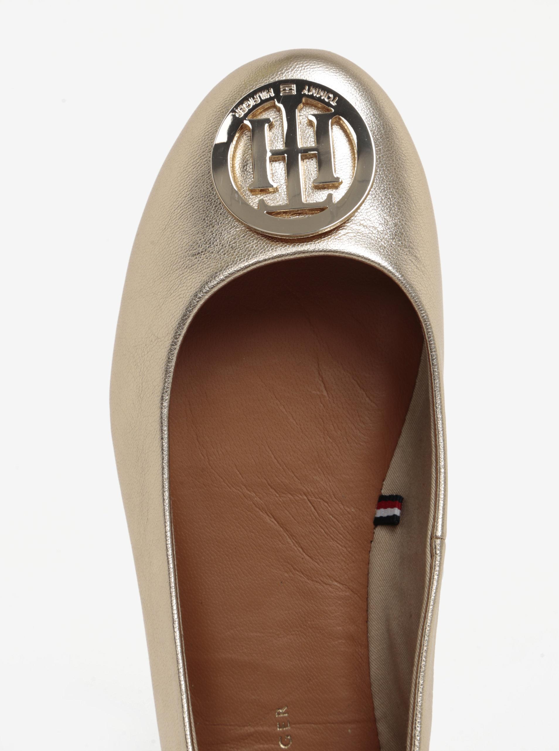 63b4d461ac Dámské kožené baleríny ve zlaté barvě Tommy Hilfiger ...