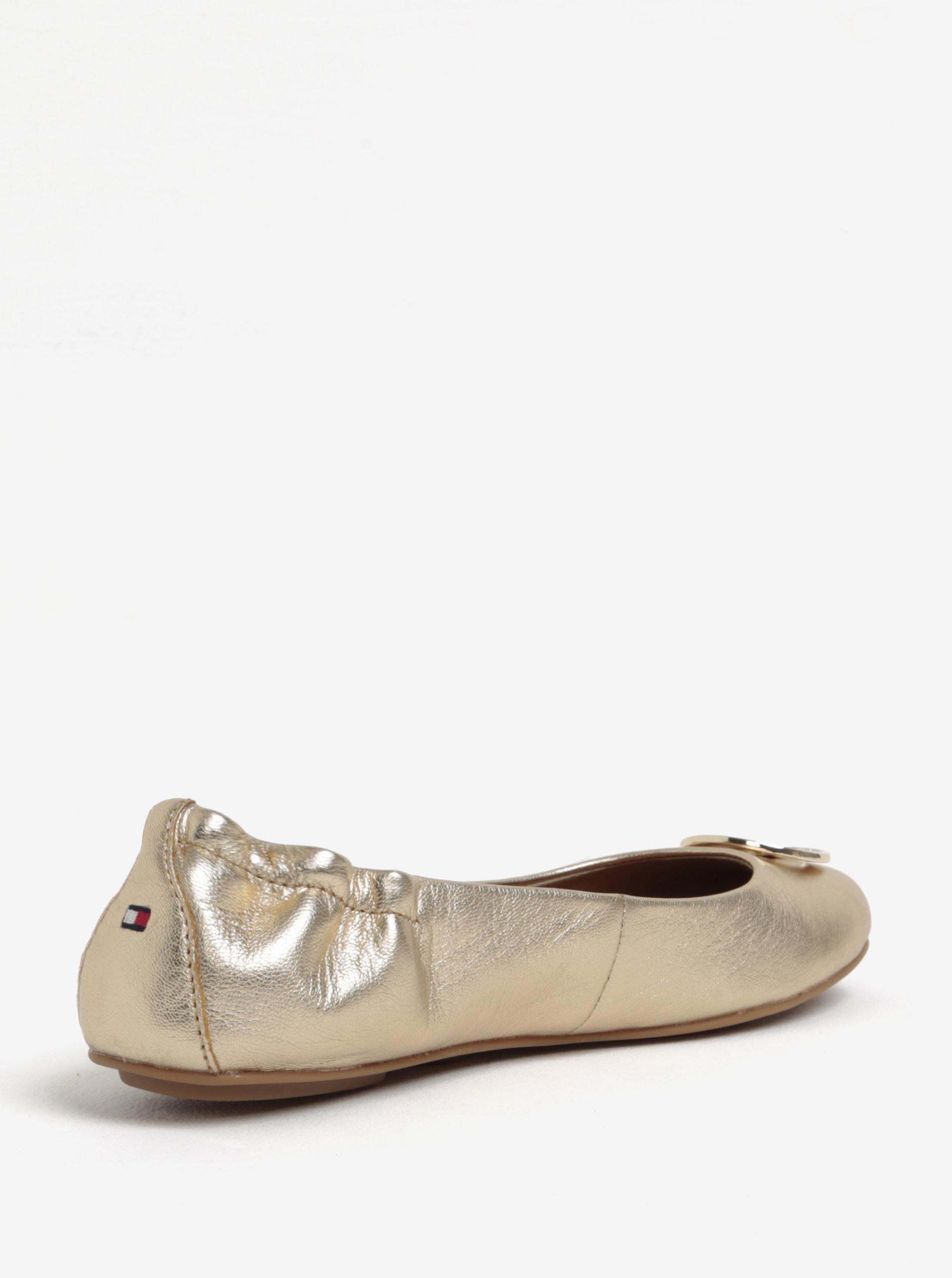0cd0aa2bb3c Dámské kožené baleríny ve zlaté barvě Tommy Hilfiger ...