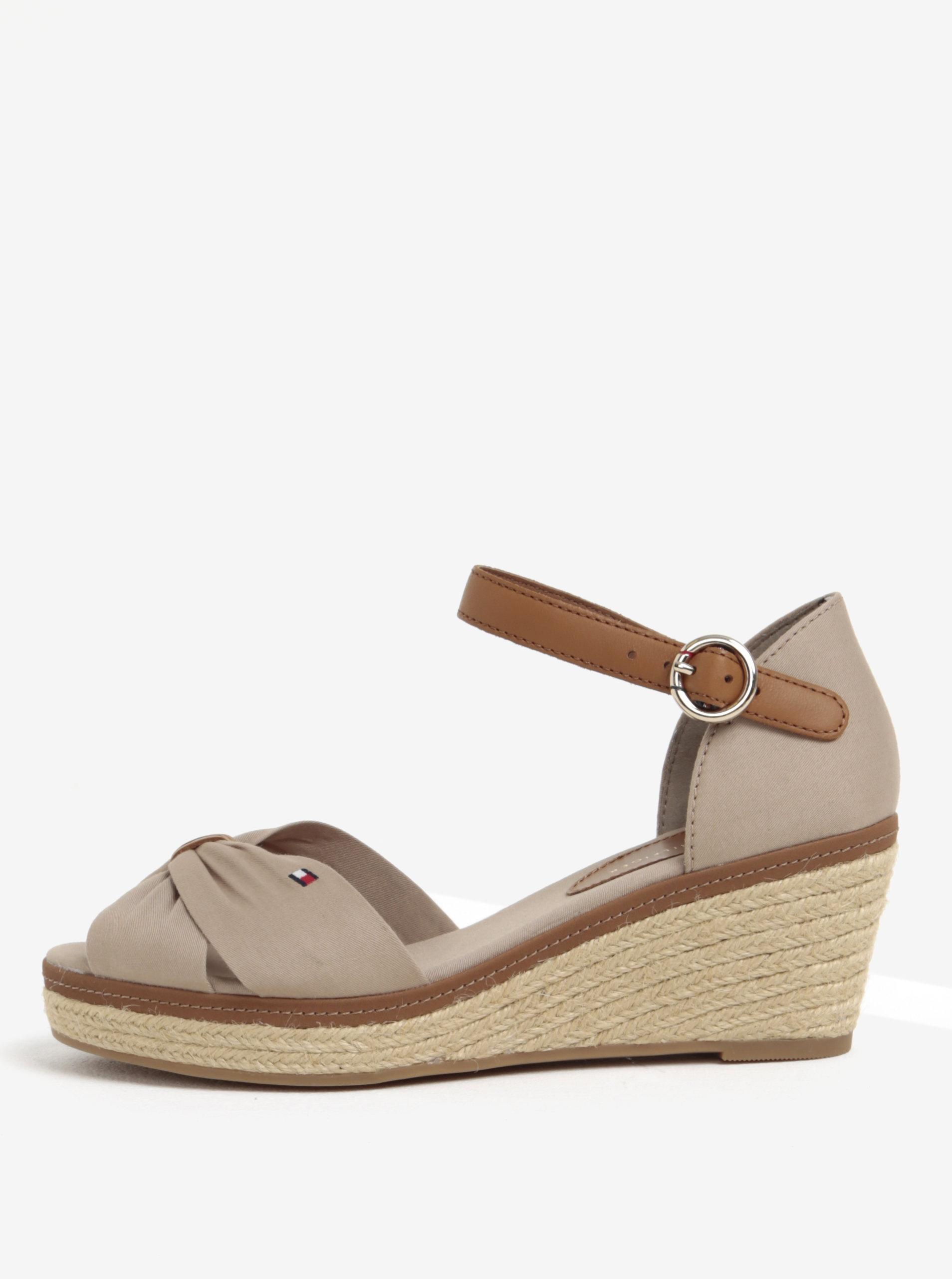 8165971a69d0 Béžové sandály na klínku Tommy Hilfiger ...