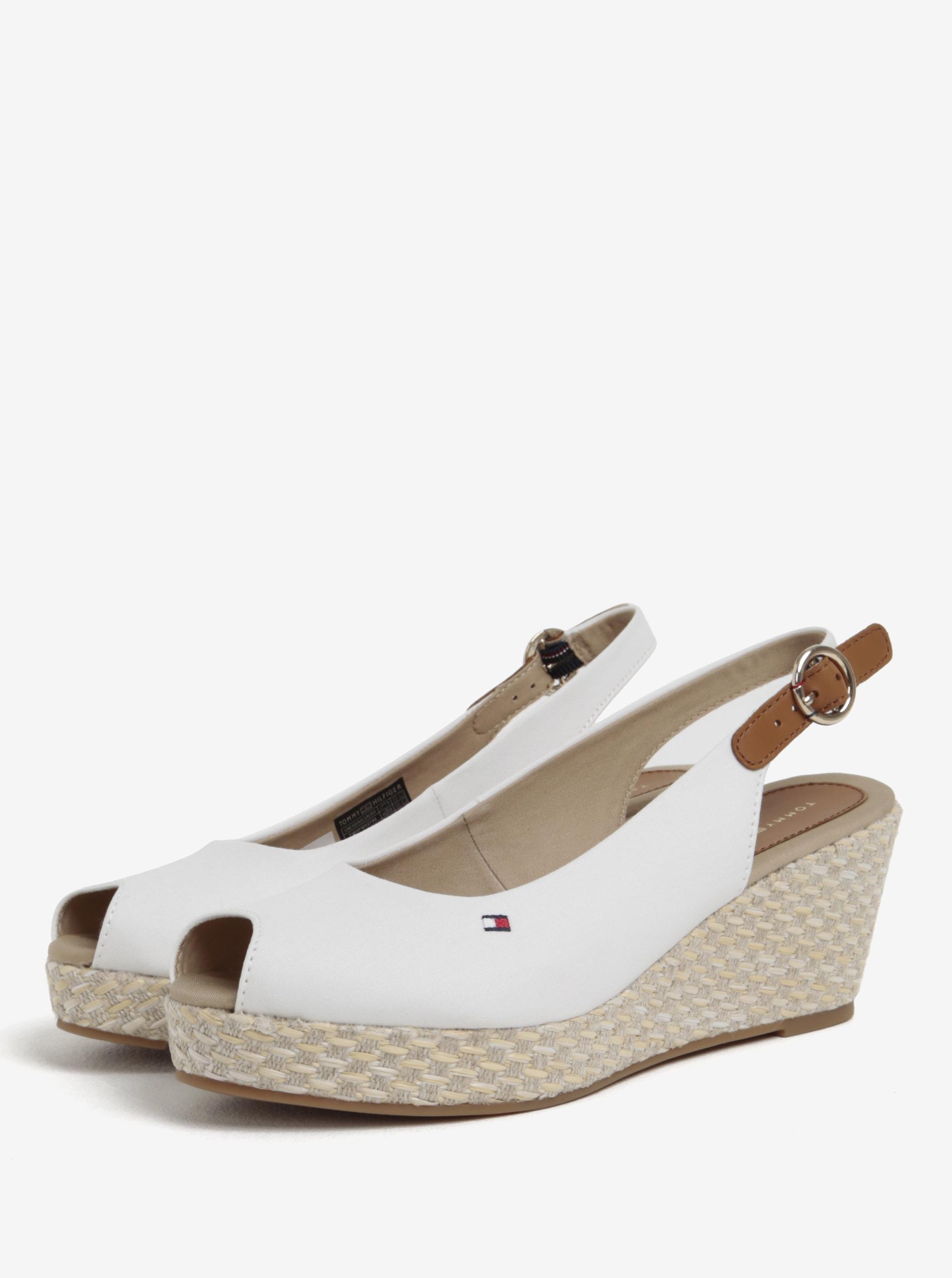 Bílé dámské sandály na klínku Tommy Hilfiger ... 88ffec8a66