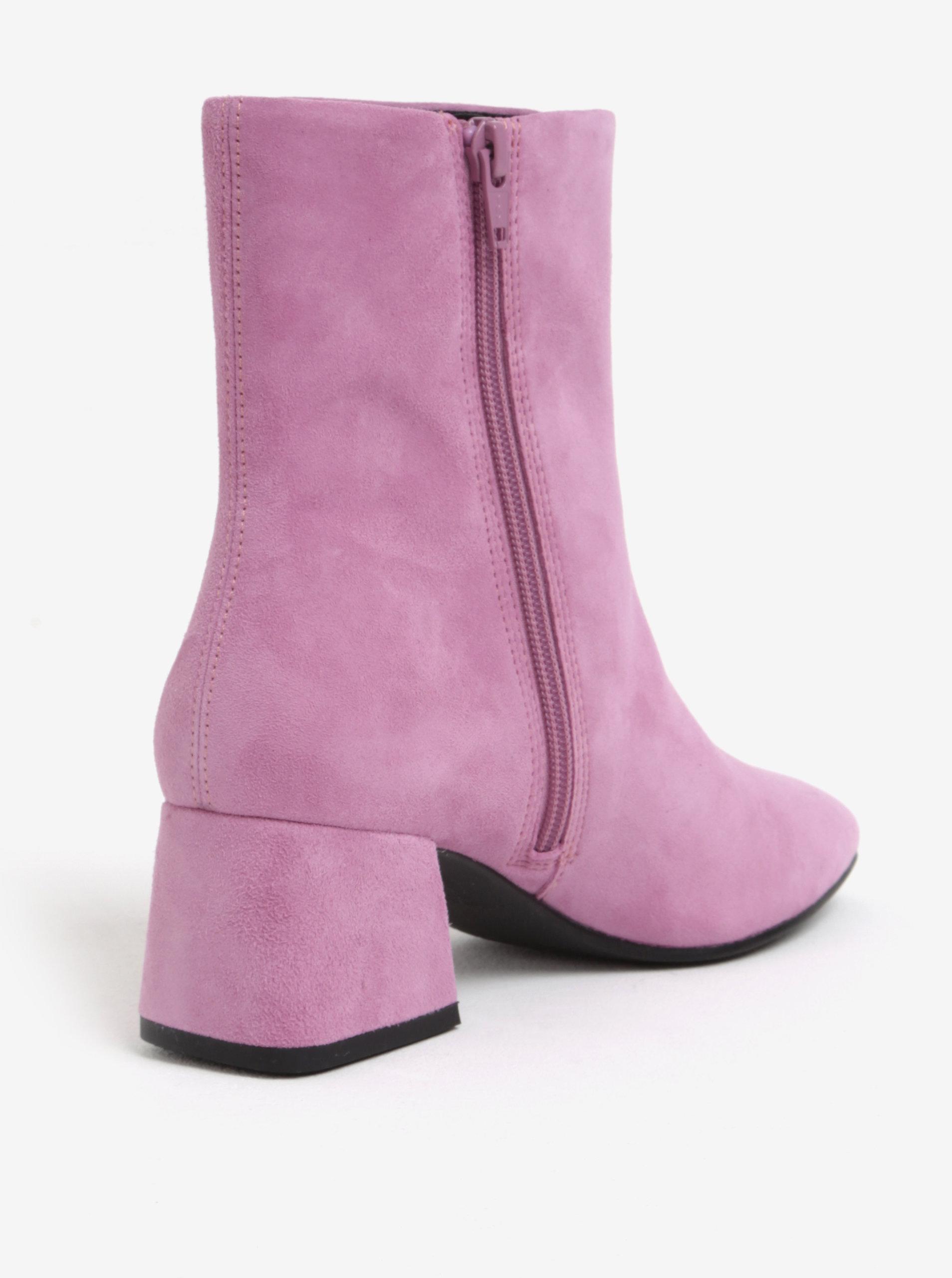 ee83baa959fa3 Ružové dámske semišové členkové topánky na podpätku Vagabond Alice ...