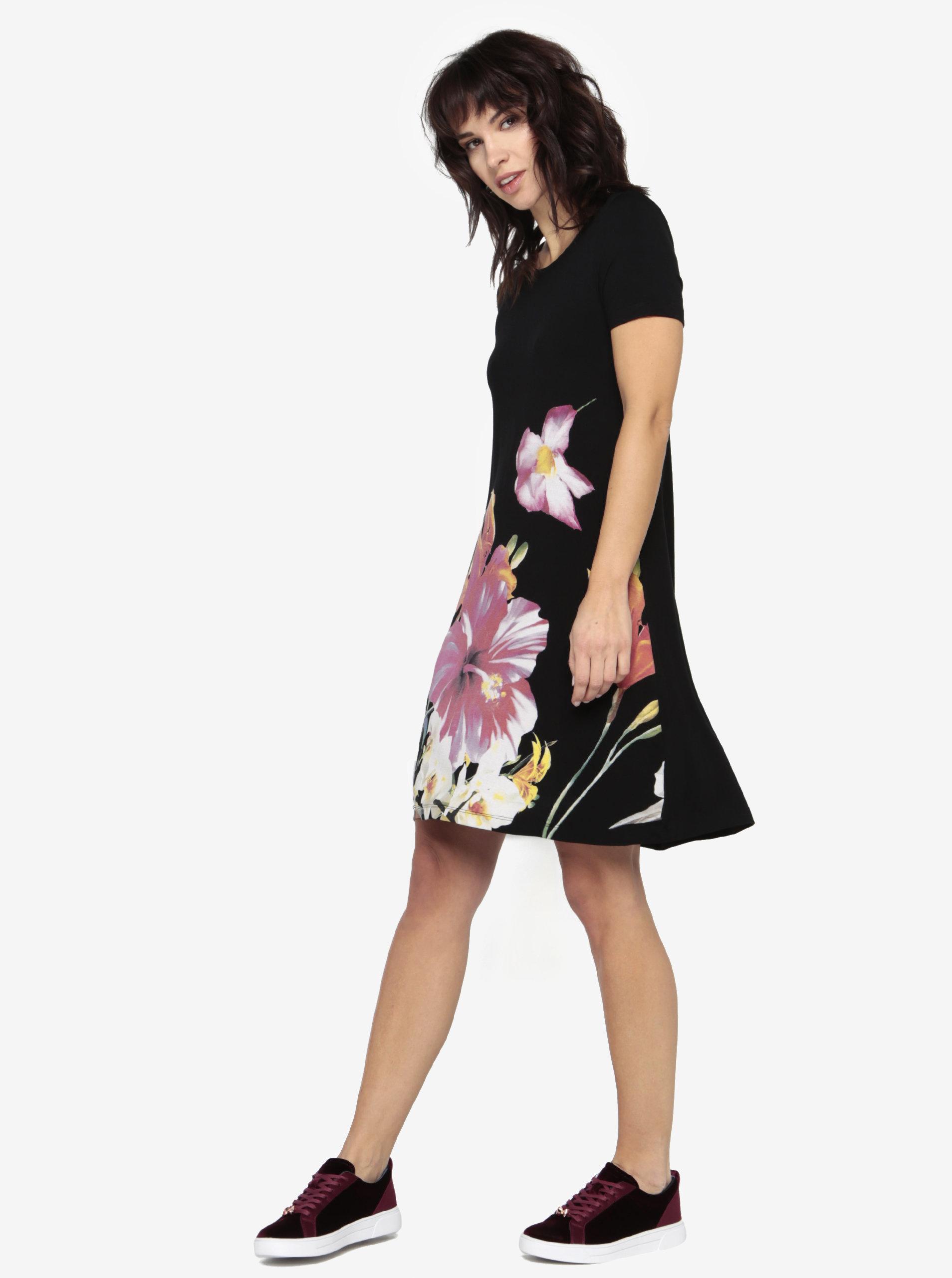 Čierne kvetované šaty s krátkym rukávom Desigual Aristo ... a23bafba4cd