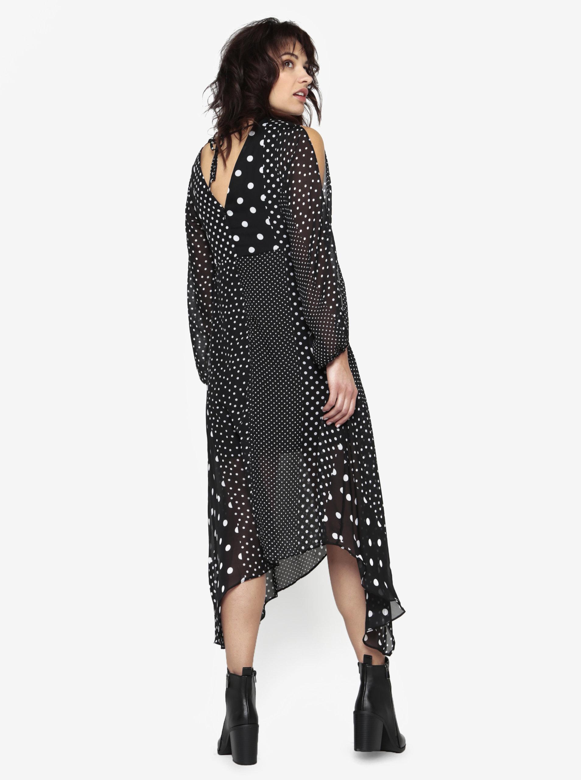 f66b2309a5a8 Čierne bodkované šaty s volánmi Miss Selfridge ...