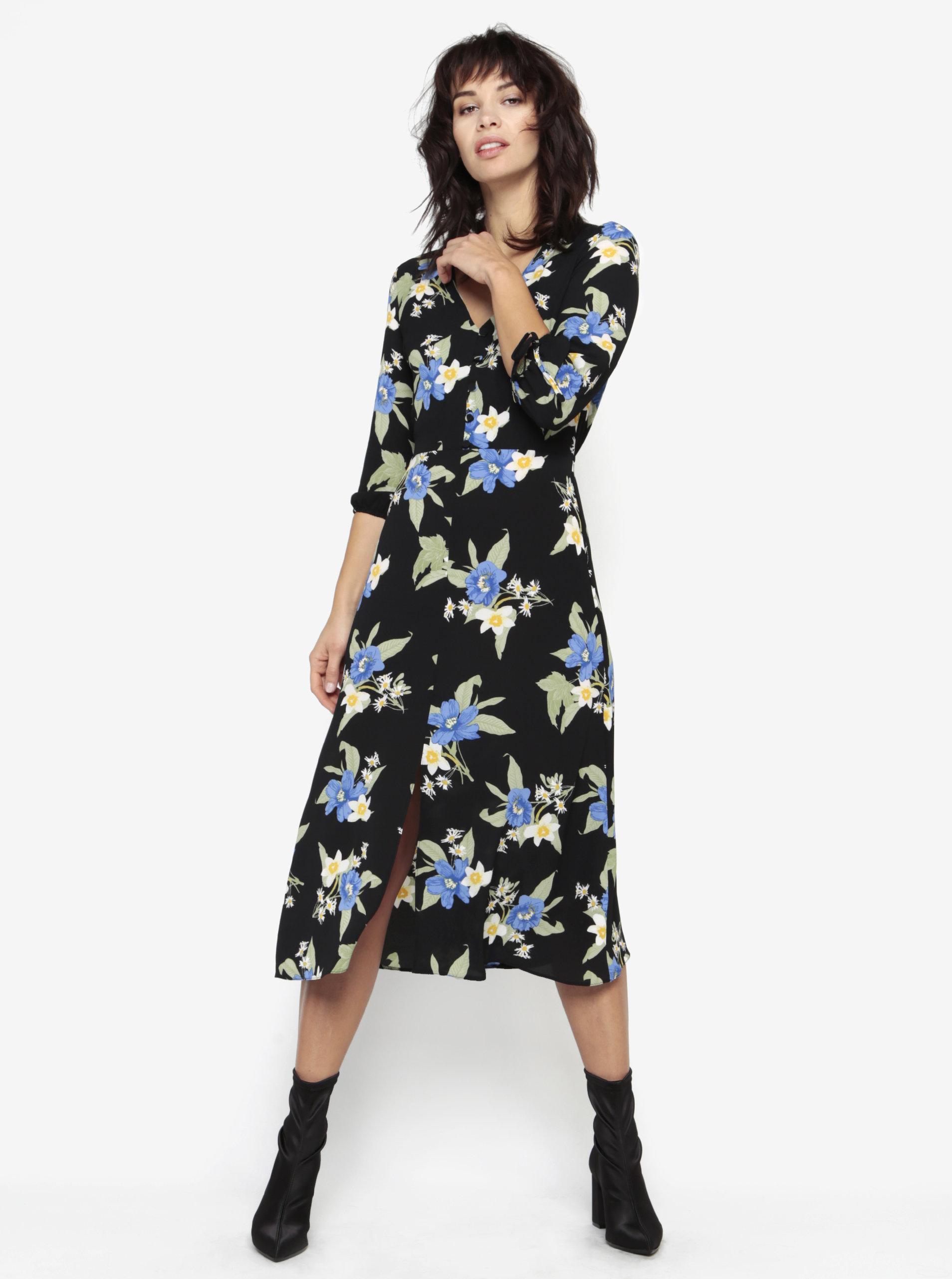 47edf7390 Čierne kvetované šaty s dlhým rukávom a rozparkom Miss Selfridge ...