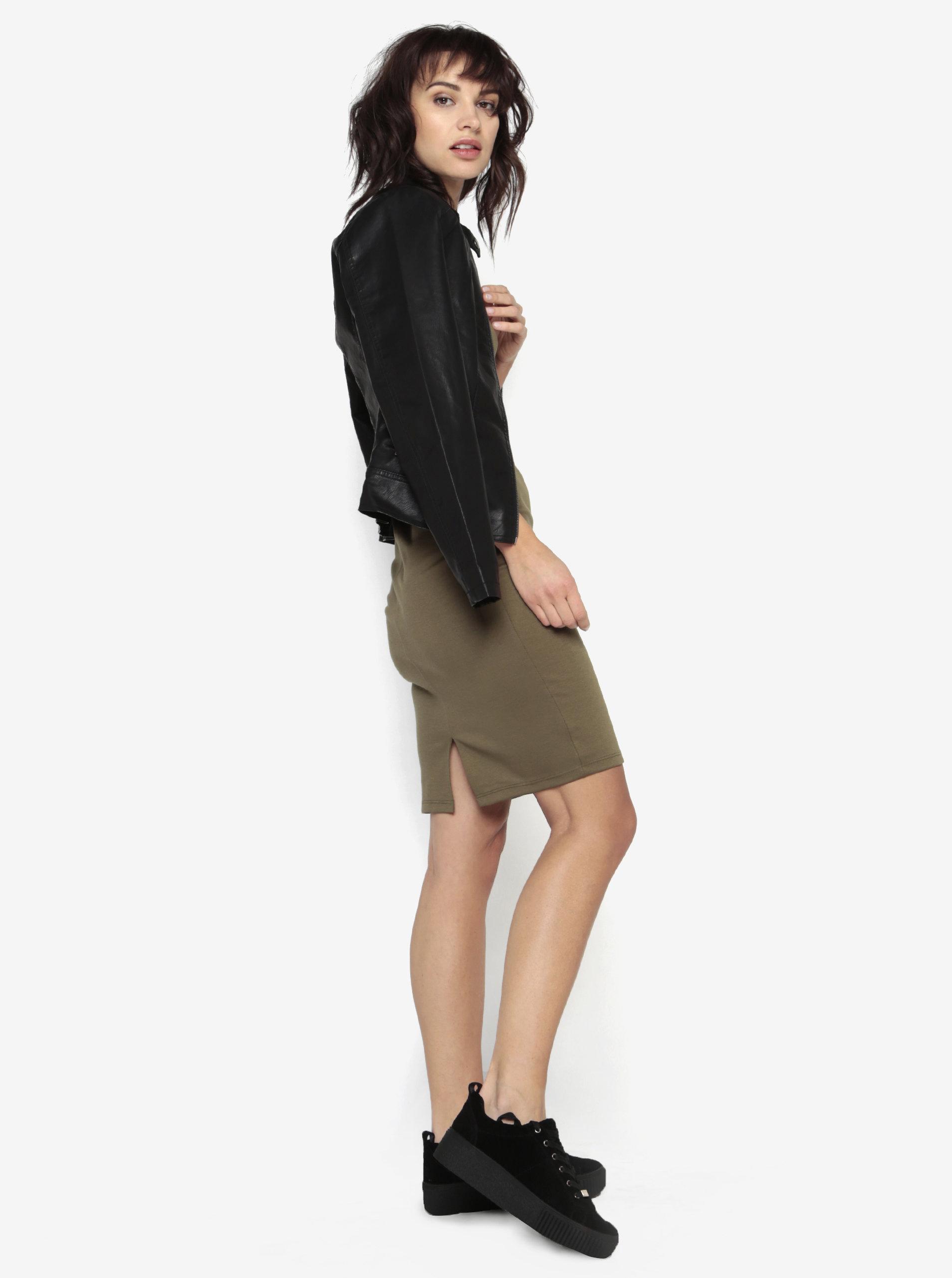 e75f5929e170 Khaki pouzdrové šaty s kulatým výstřihem ZOOT ...