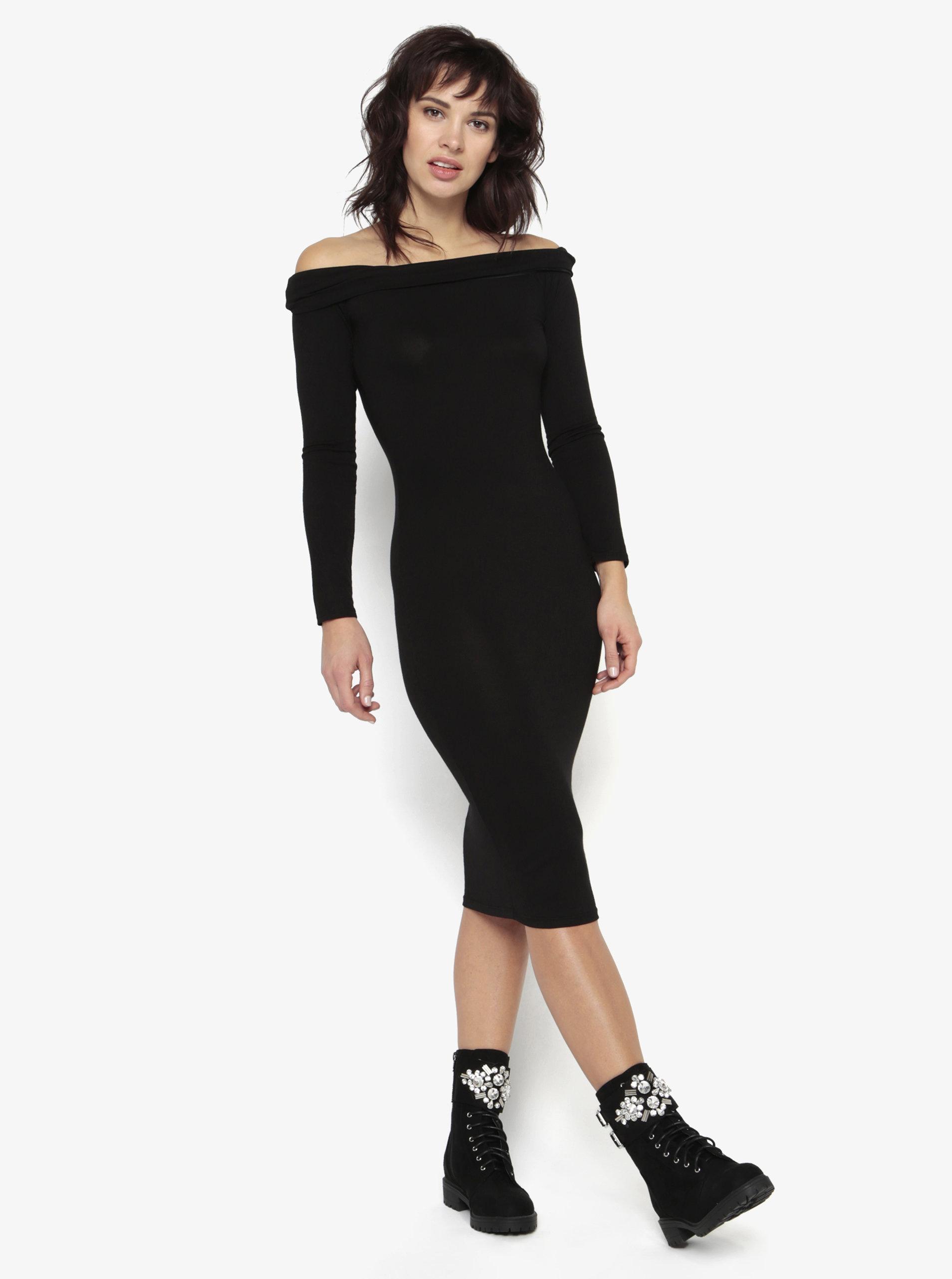 Černé šaty s odhalenými rameny MISSGUIDED ... 18068ecd8f