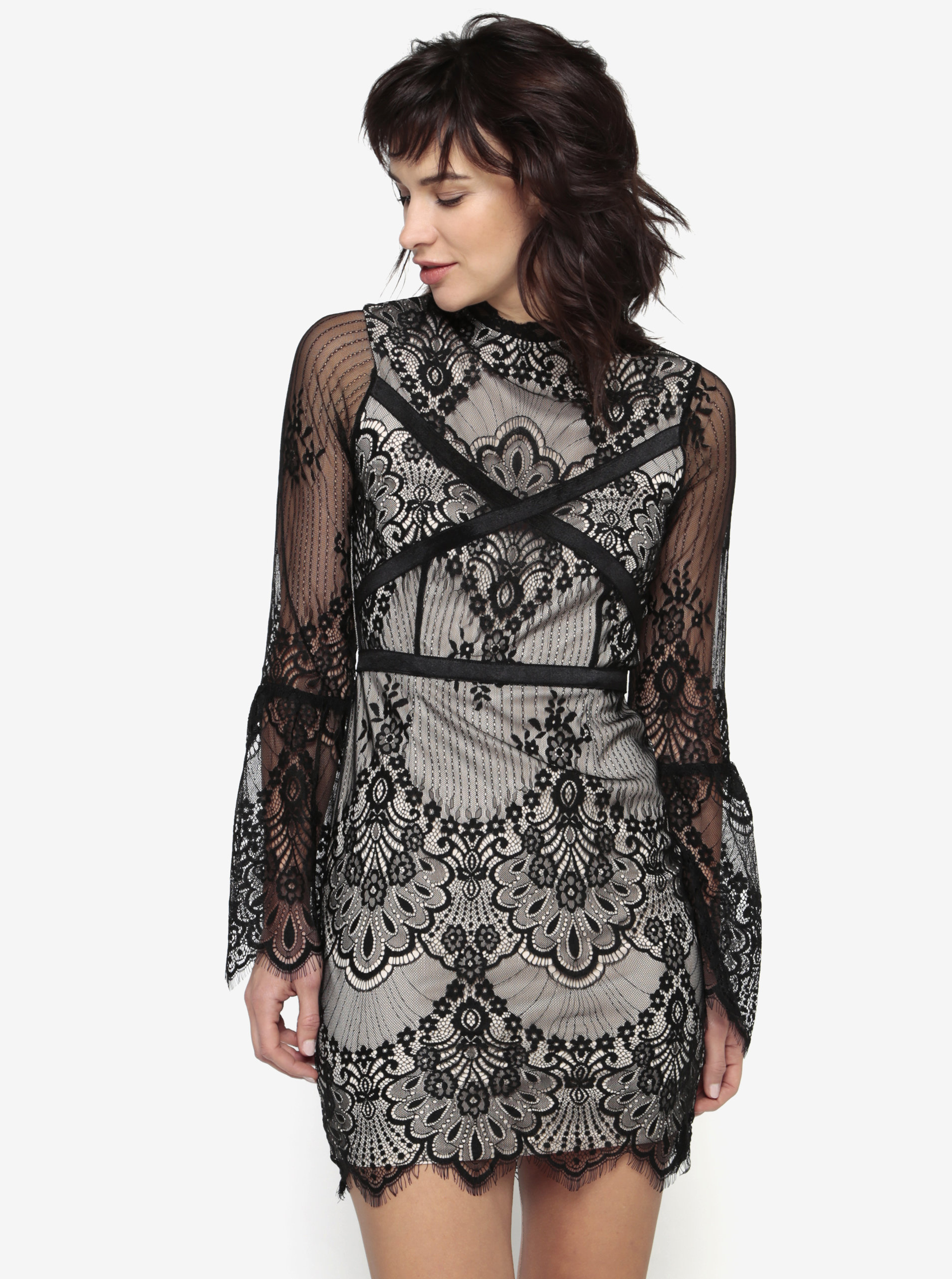 Černo-béžové krajkové šaty MISSGUIDED ... 813d88b6d3b