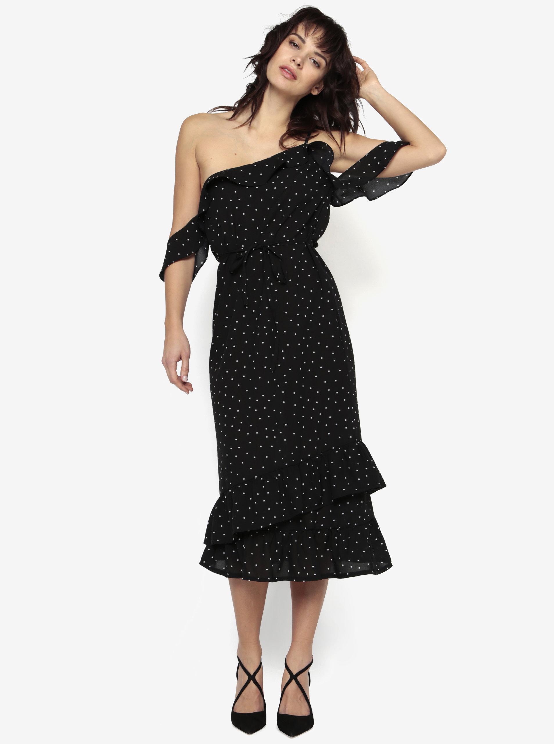 264a3abf76ba Čierne asymetrické priesvitné šaty s volánmi MISSGUIDED ...