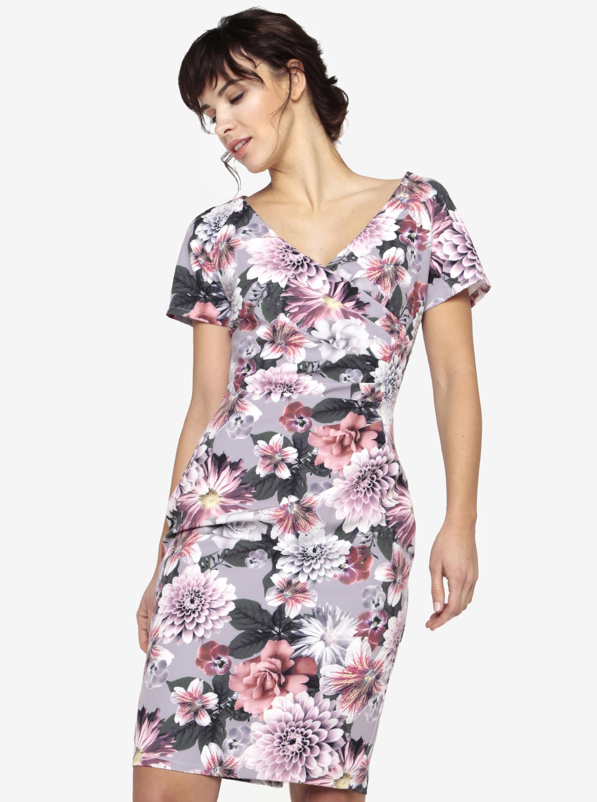 a5569d721408 Sivé kvetované šaty s prekladaným výstrihom Paper Dolls ...